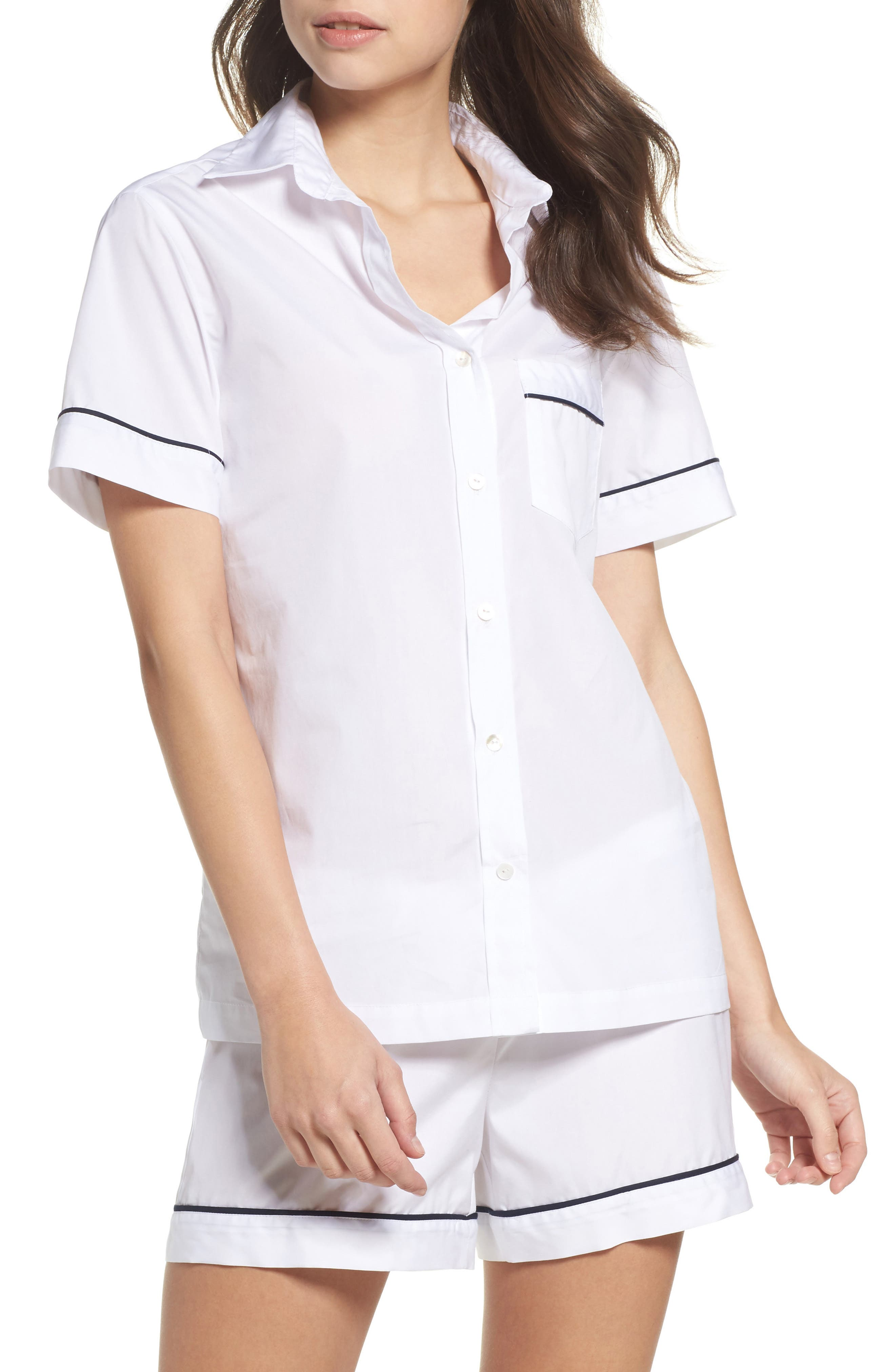 Alternate Image 1 Selected - Pour Les Femmes Piped Sleep Shirt