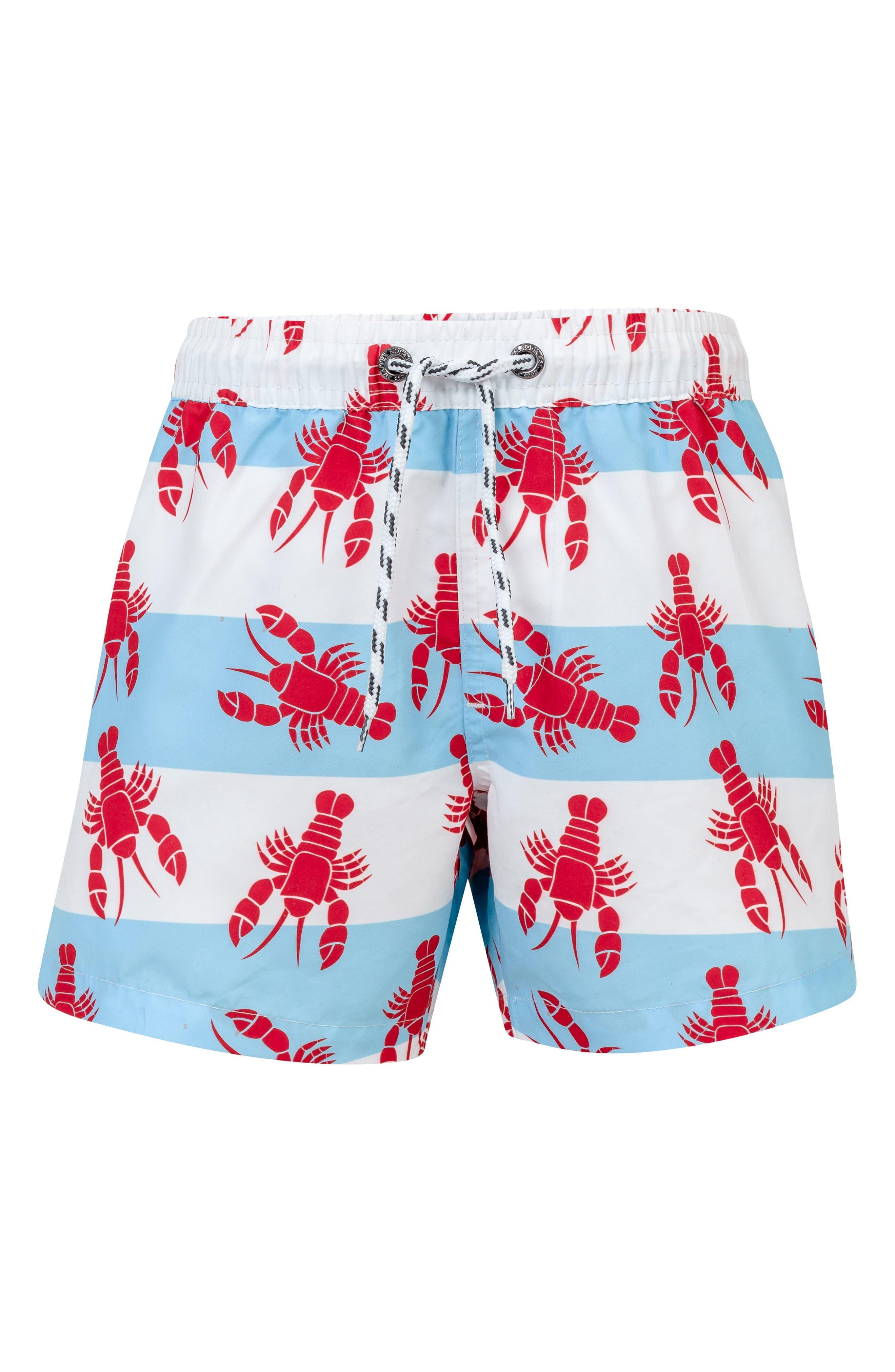 Lobster Board Shorts,                         Main,                         color, White Aqua Stripe