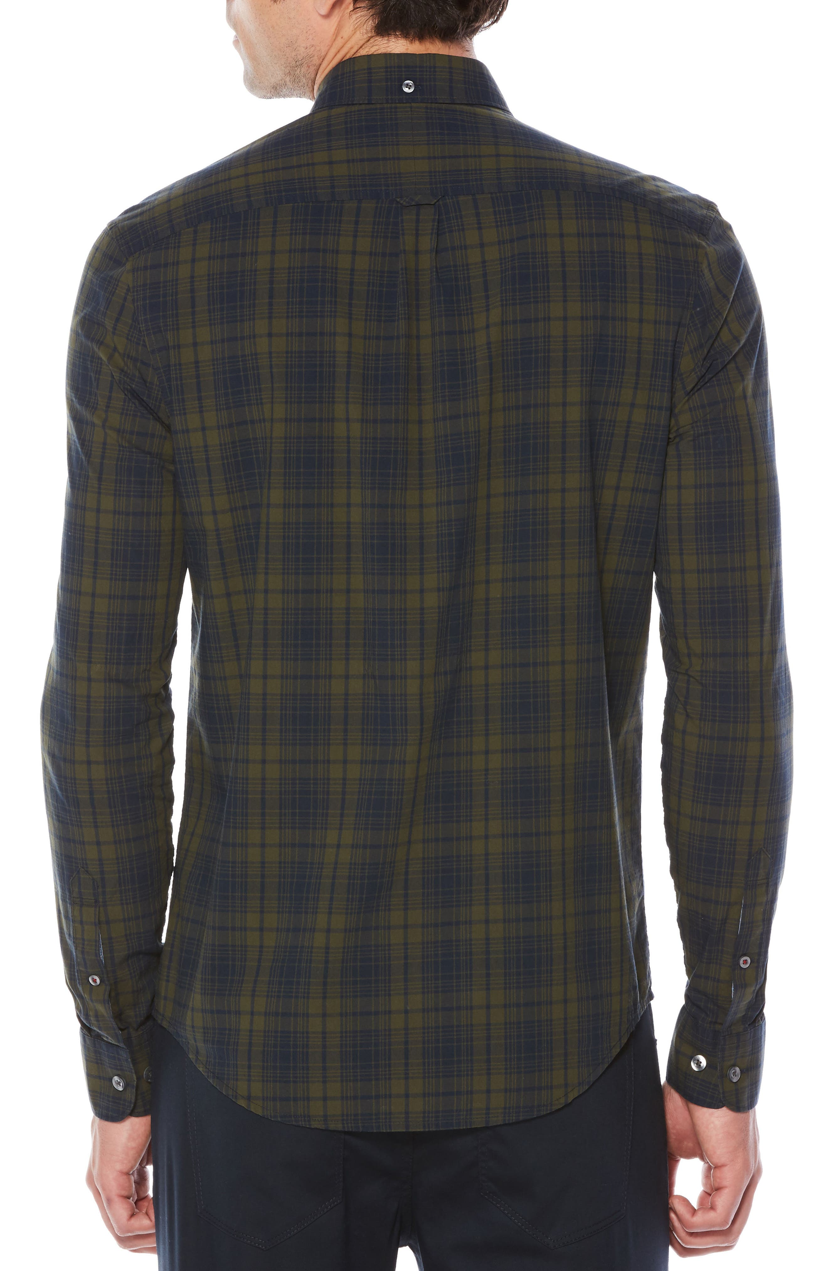 Heritage Slim Fit Plaid Shirt,                             Alternate thumbnail 2, color,                             Forest Night