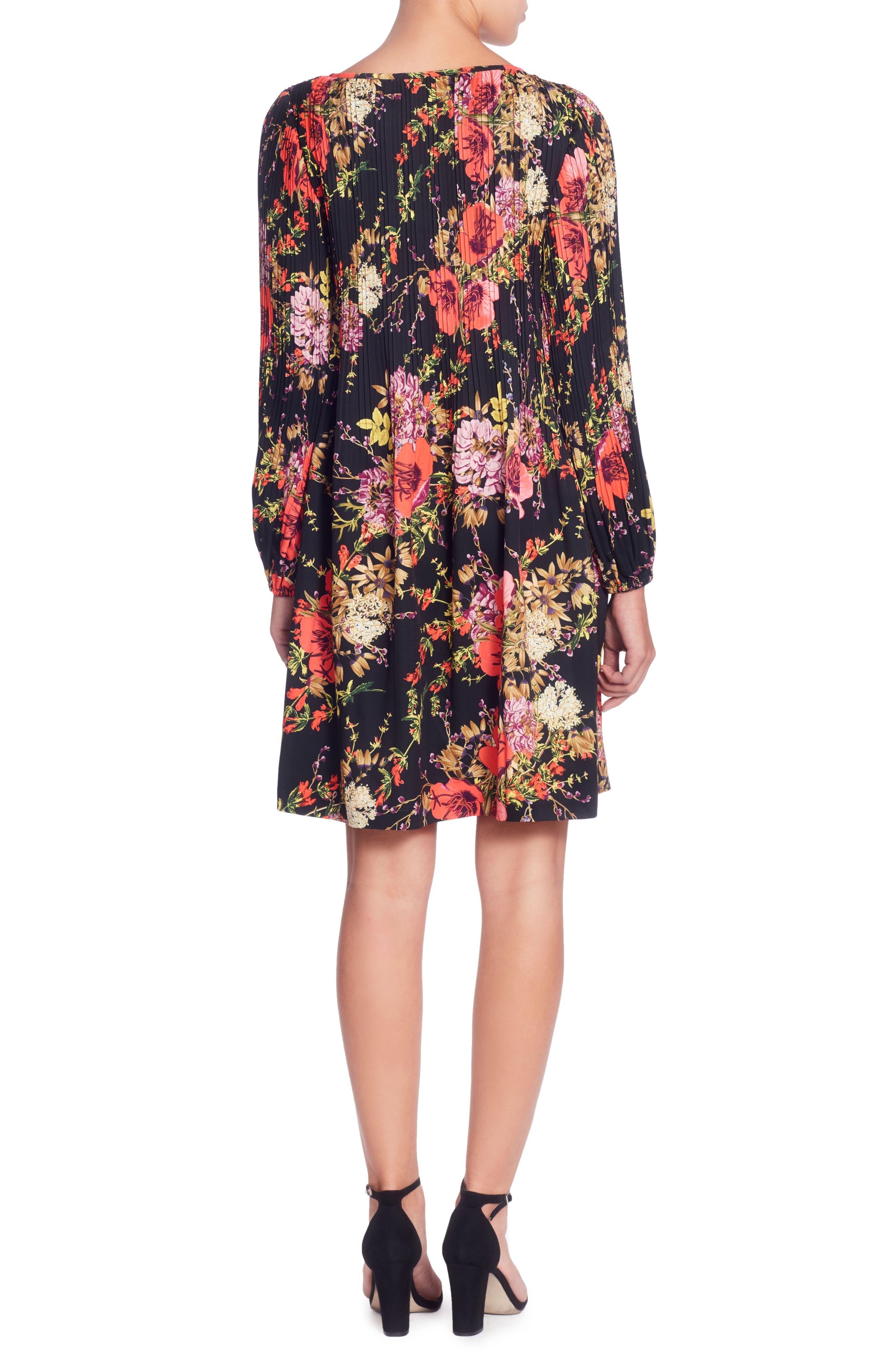 Petra Floral Print Dress,                             Alternate thumbnail 2, color,                             Ethereal Garden Black