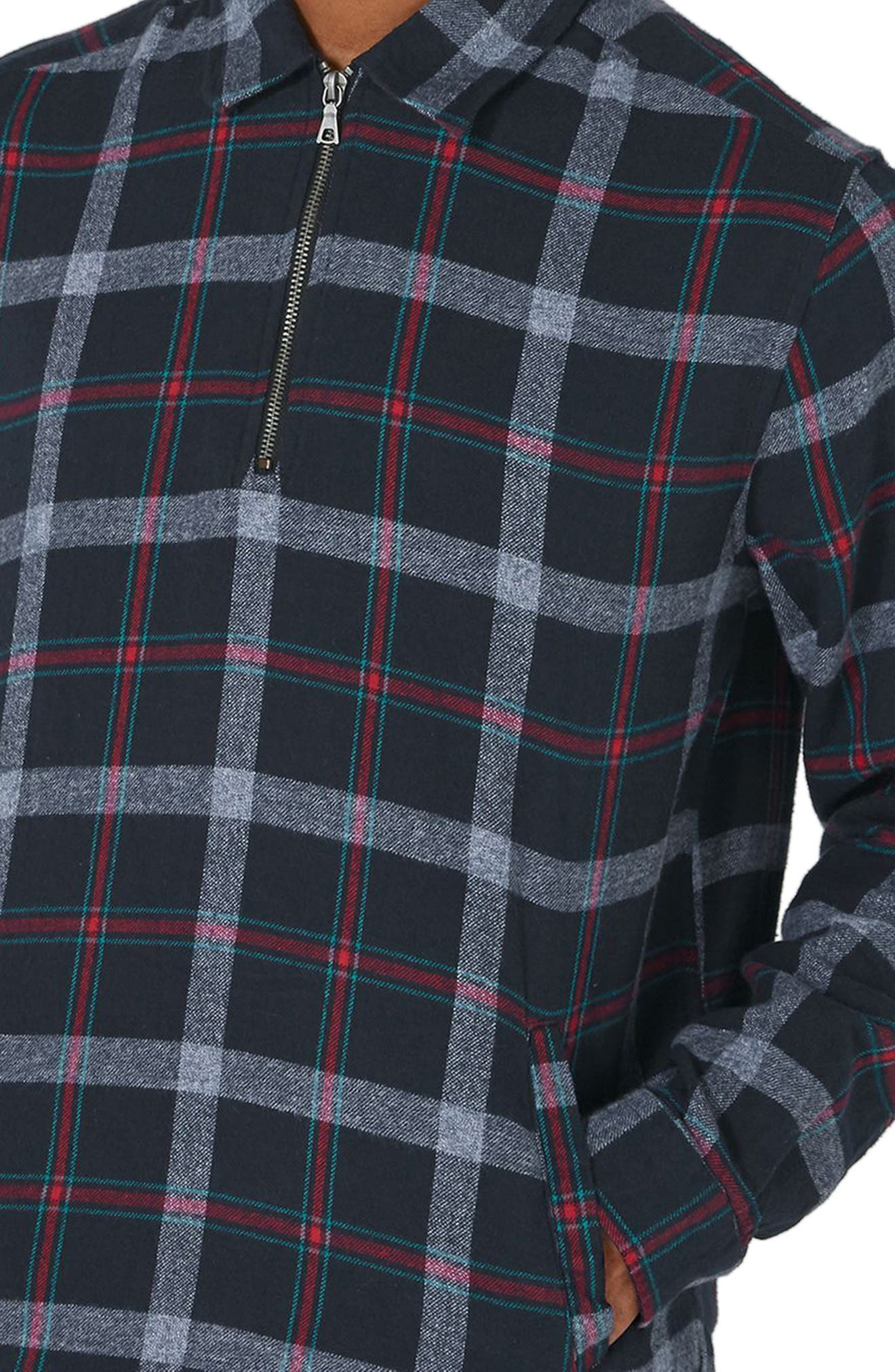 Half Zip Check Shirt,                             Alternate thumbnail 3, color,                             Blue Multi