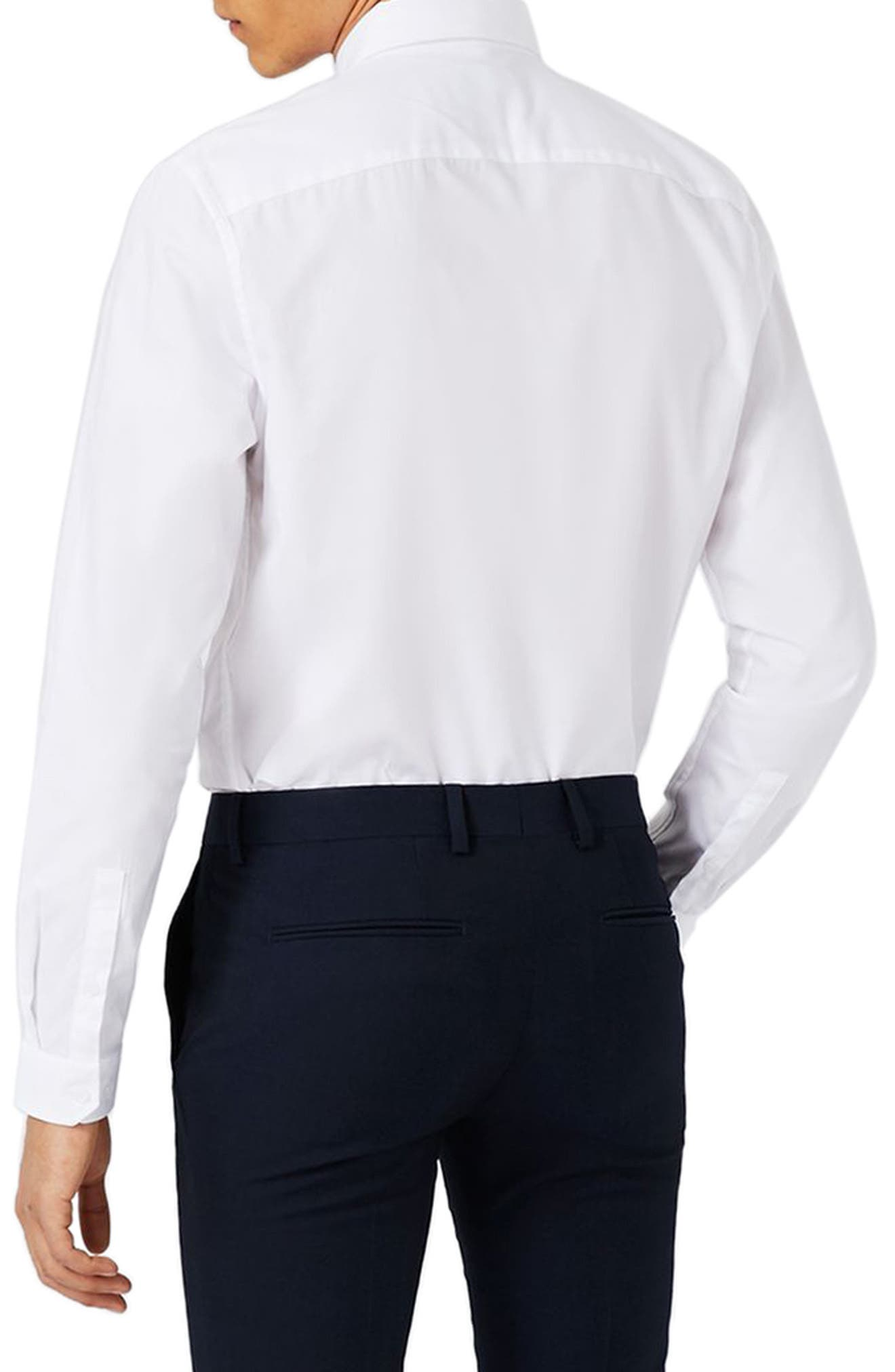 Trim Fit Chisel Collar Dress Shirt,                             Alternate thumbnail 3, color,                             White