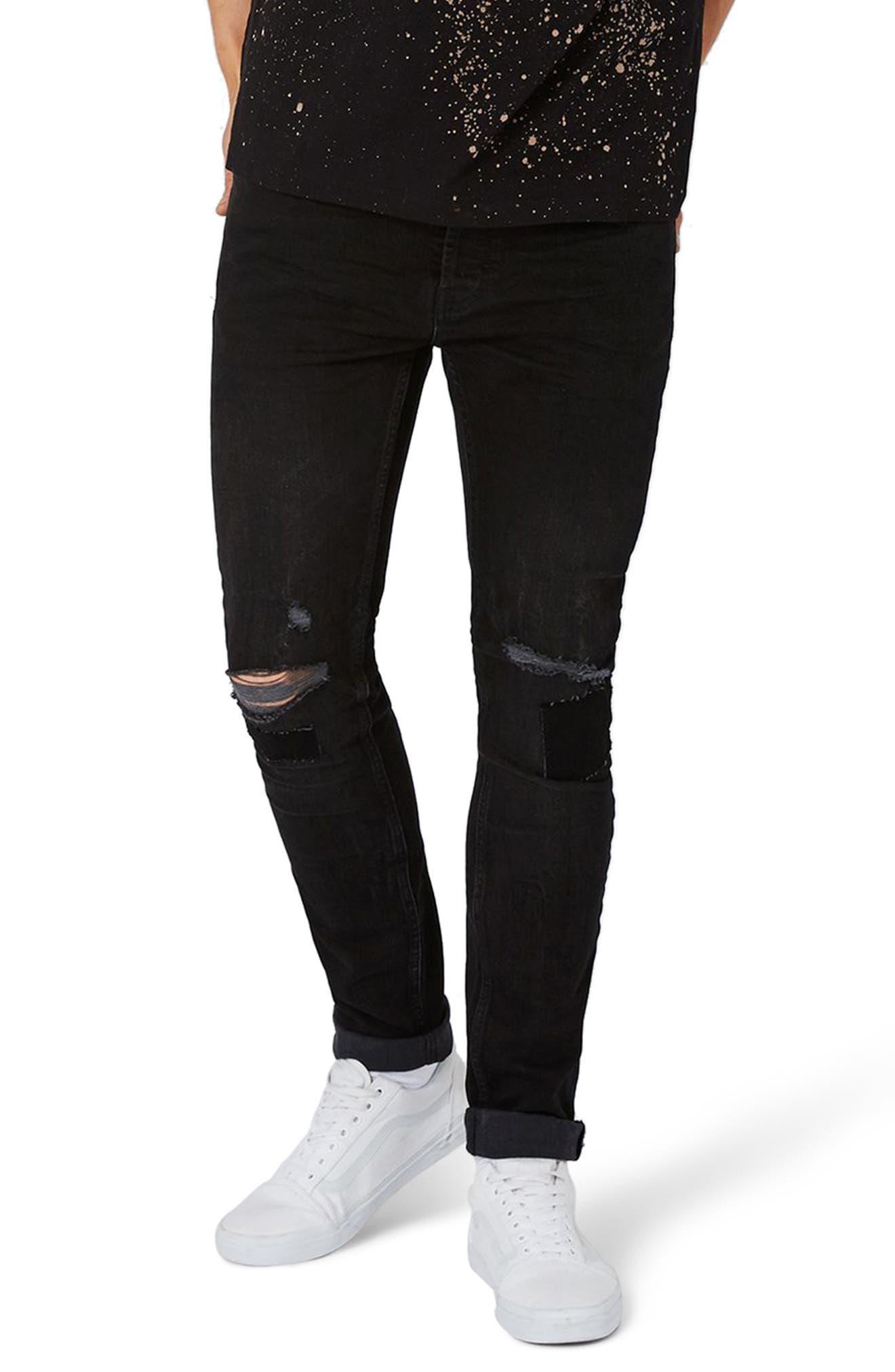 Topman Patch Stretch Skinny Jeans