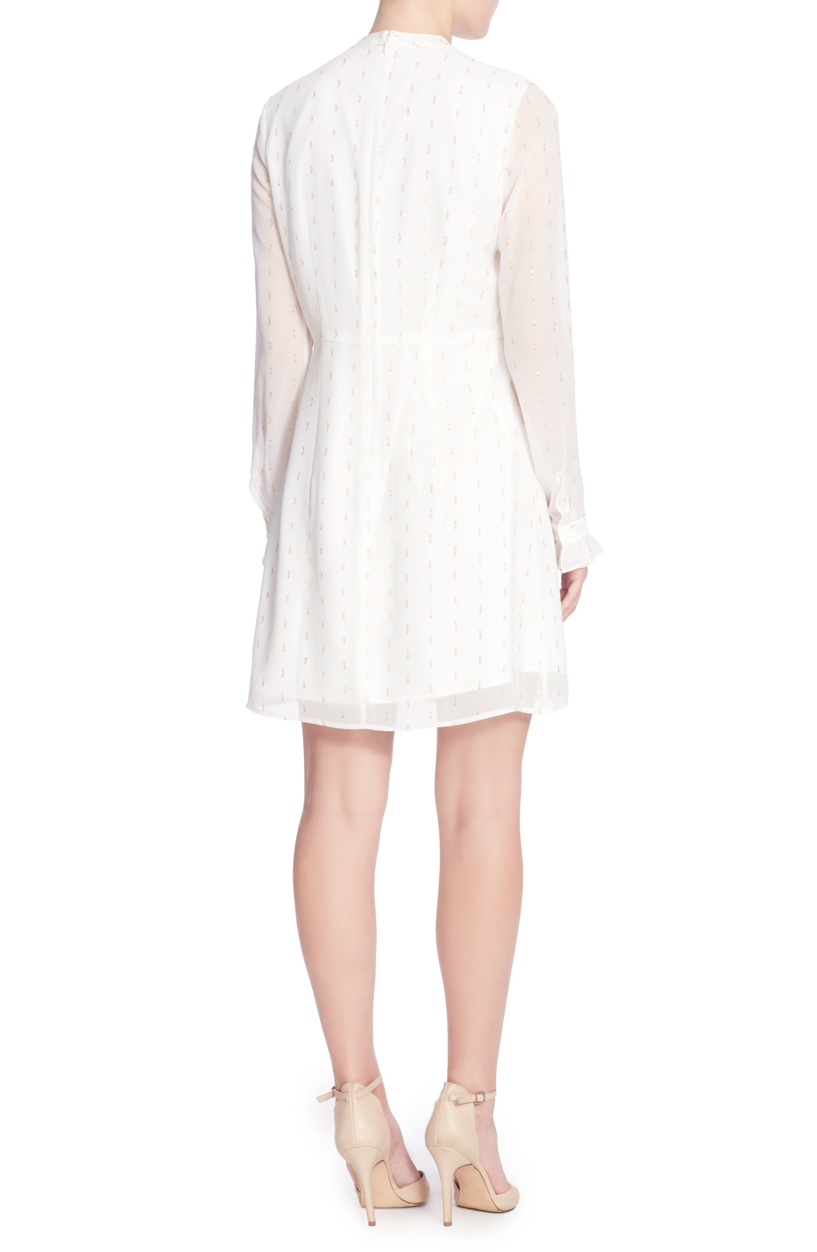 Aisling Ruffle Dress,                             Alternate thumbnail 2, color,                             Ivory/ Gold