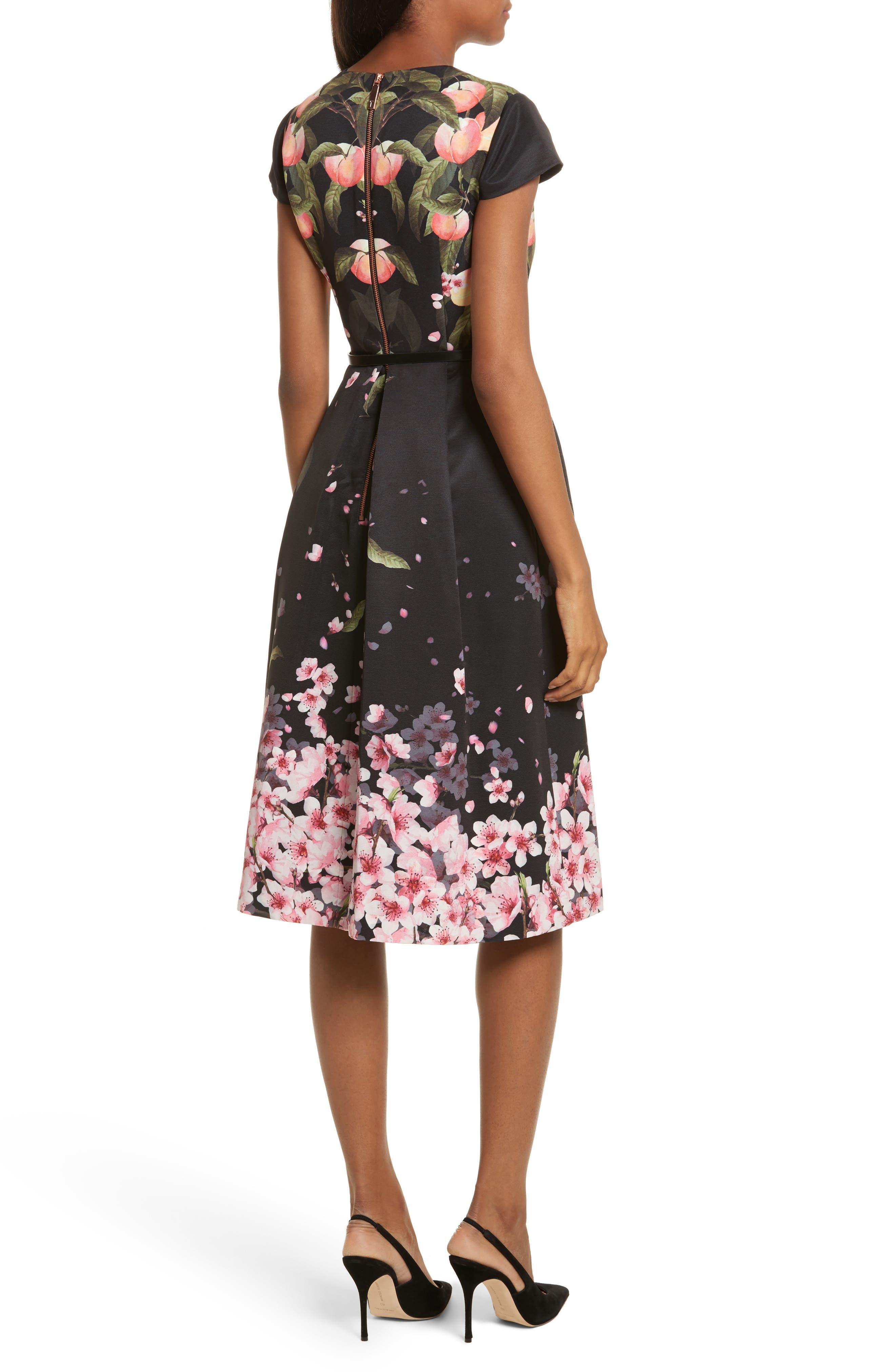 Peach Blossom Faux Wrap Midi Dress,                             Alternate thumbnail 2, color,                             Black