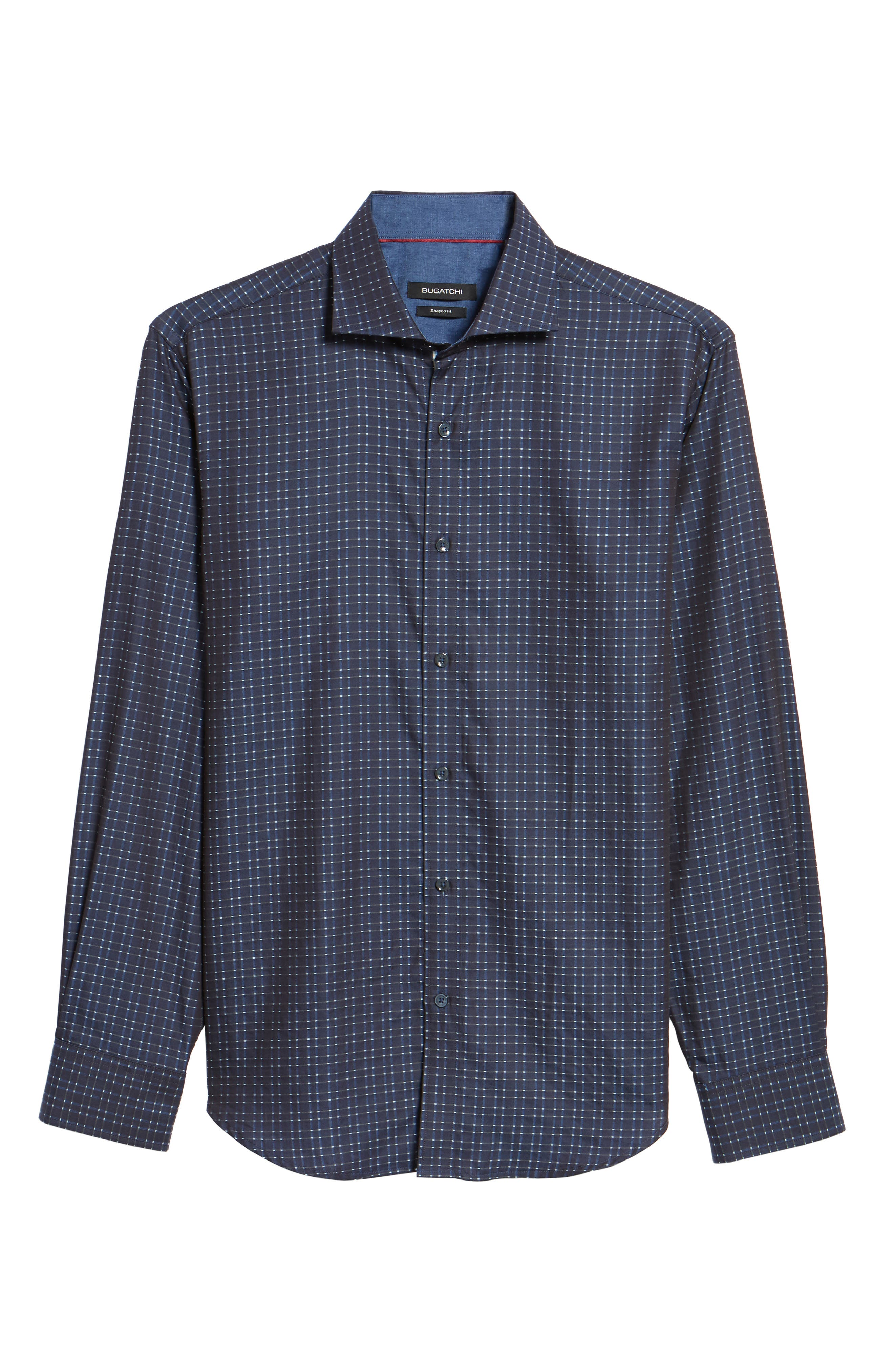 Shaped Fit Sport Shirt,                             Alternate thumbnail 6, color,                             Midnight