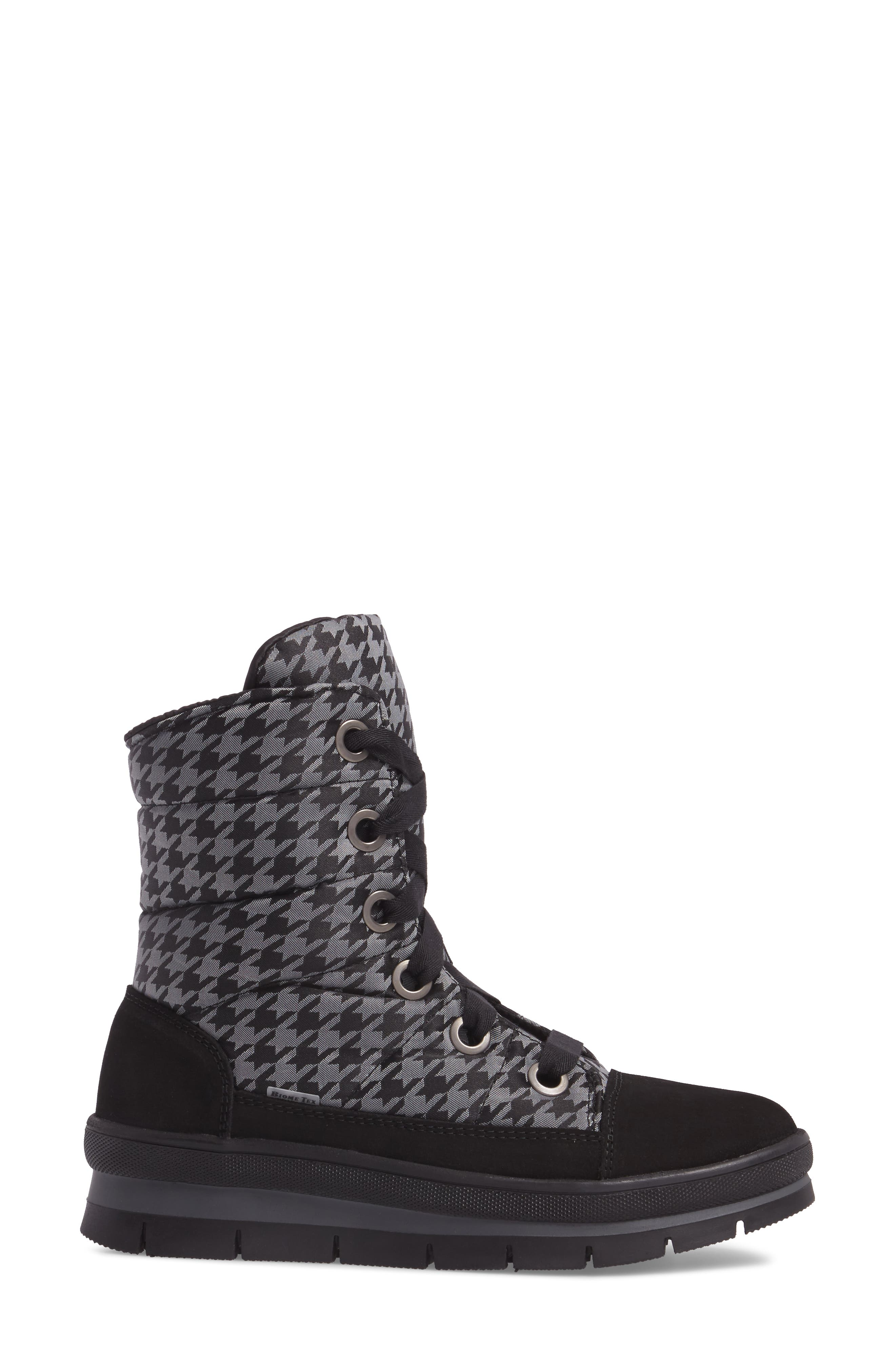 Meribel Waterproof Channel Quilted Lace Up Sneaker Boot,                             Alternate thumbnail 3, color,                             Black Pull Pied
