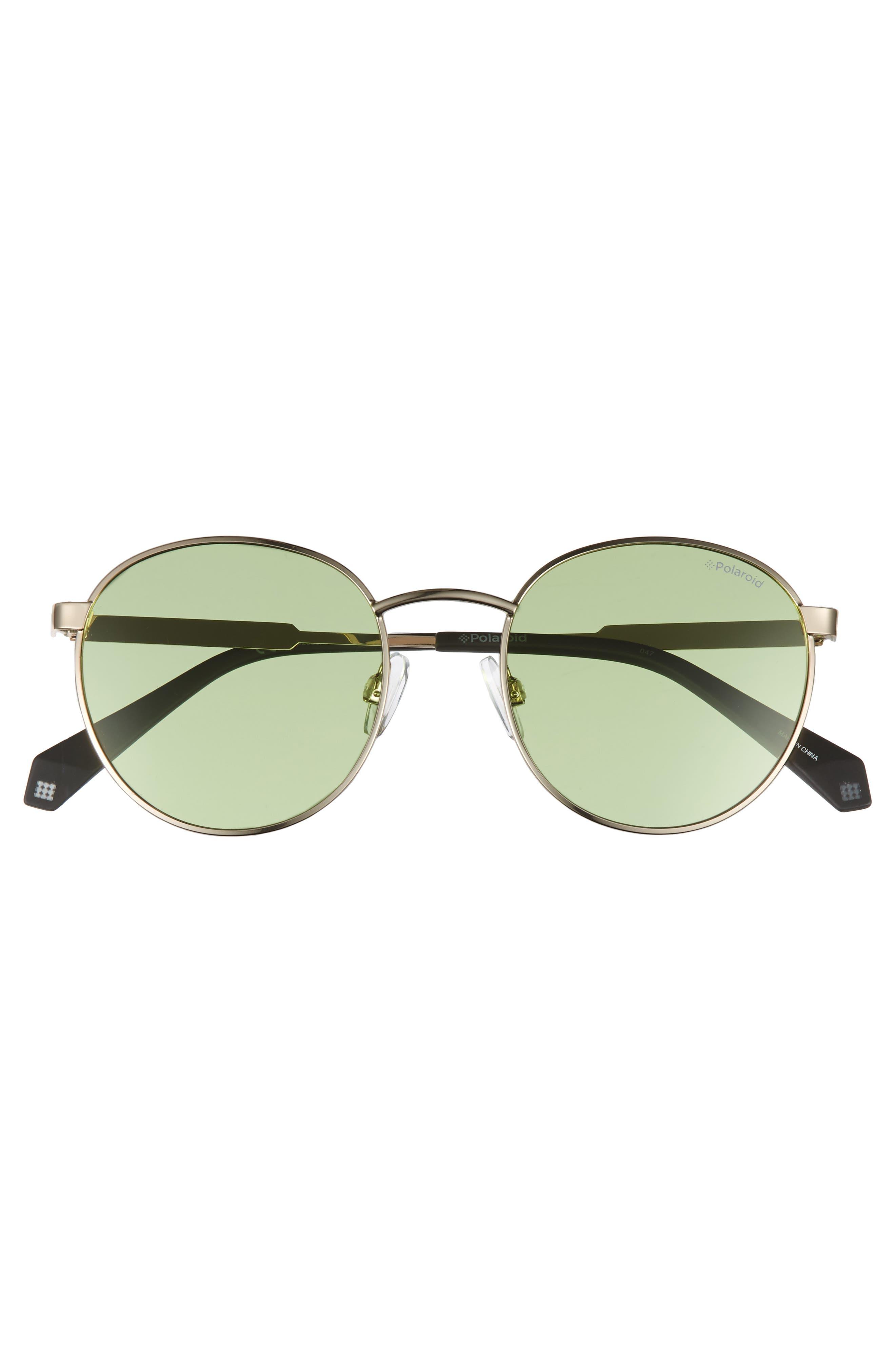 51mm Round Retro Polarized Sunglasses,                             Alternate thumbnail 3, color,                             Green