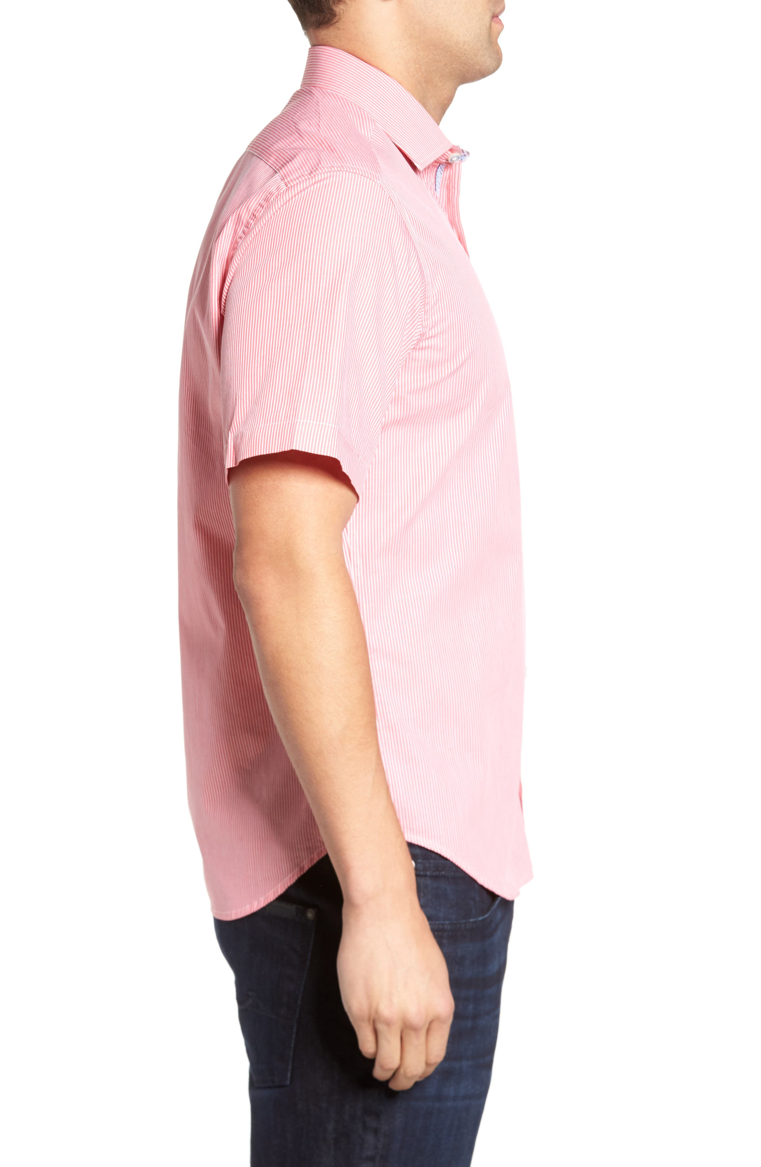 Many Regular Fit Stripe Sport Shirt,                             Alternate thumbnail 3, color,                             Coral