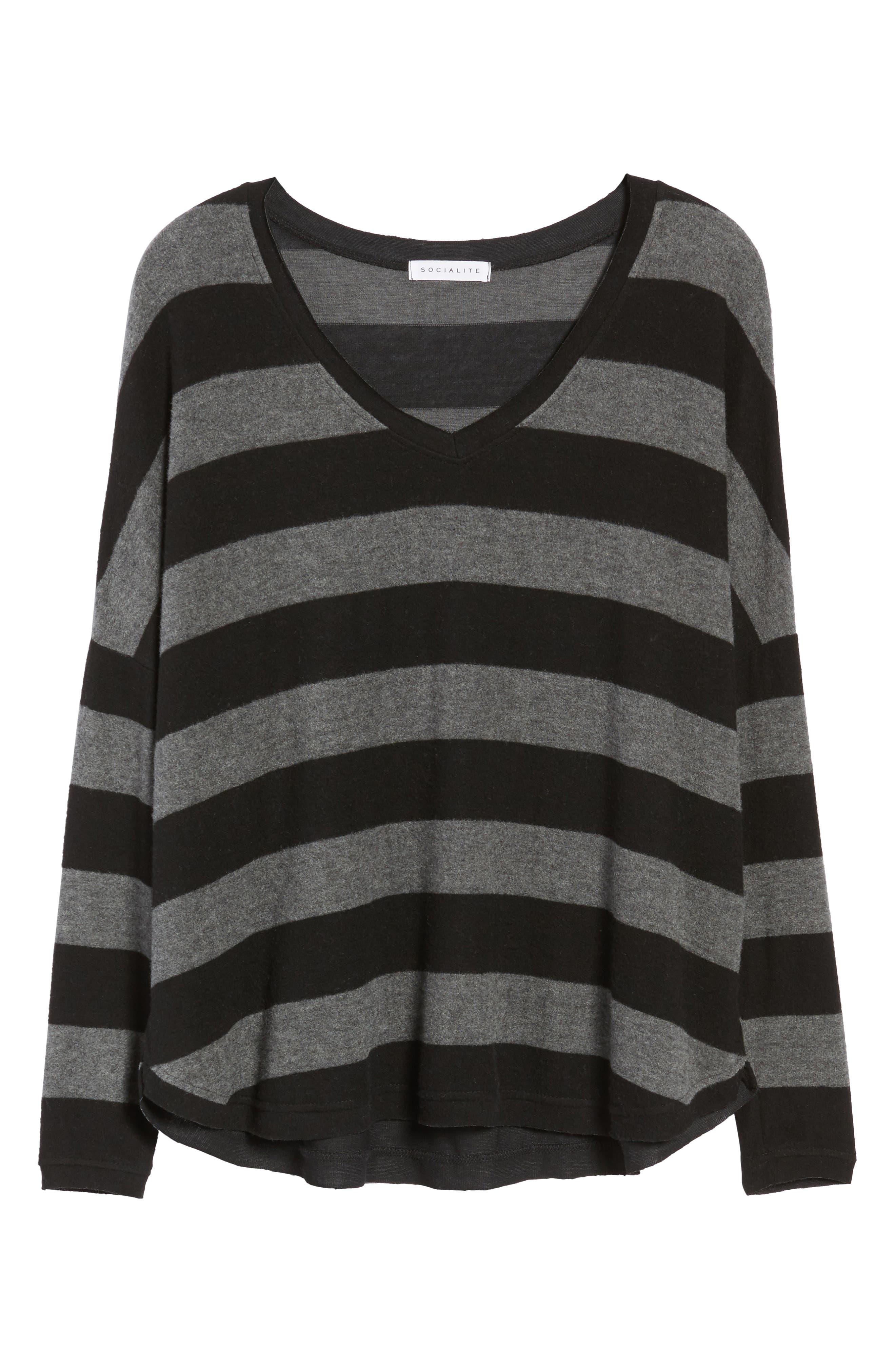 Stripe Cozy Tee,                             Alternate thumbnail 6, color,                             H. Charcoal/ Black