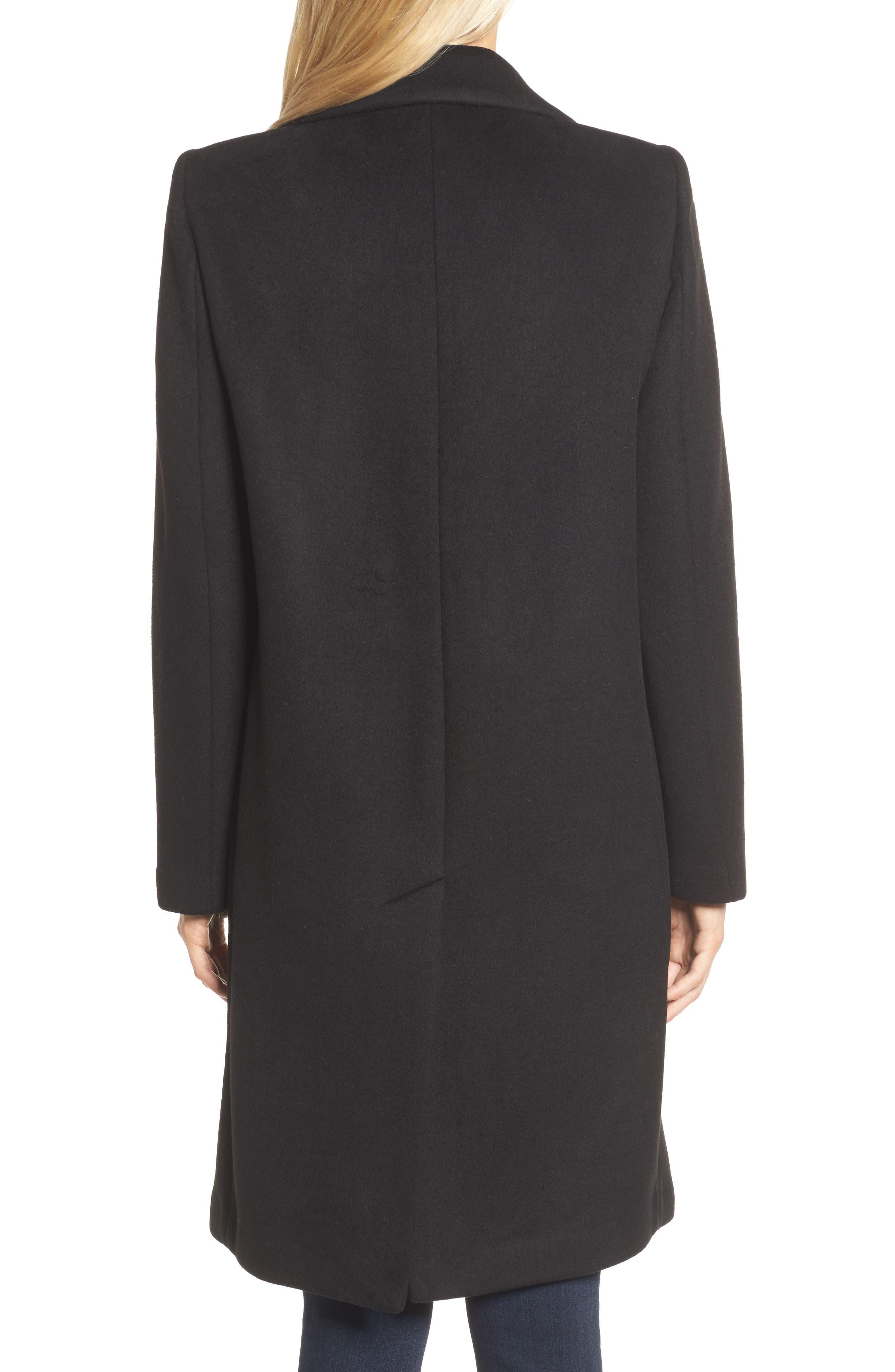 DKNY Lavish Wool Blend Coat,                             Alternate thumbnail 2, color,                             Black
