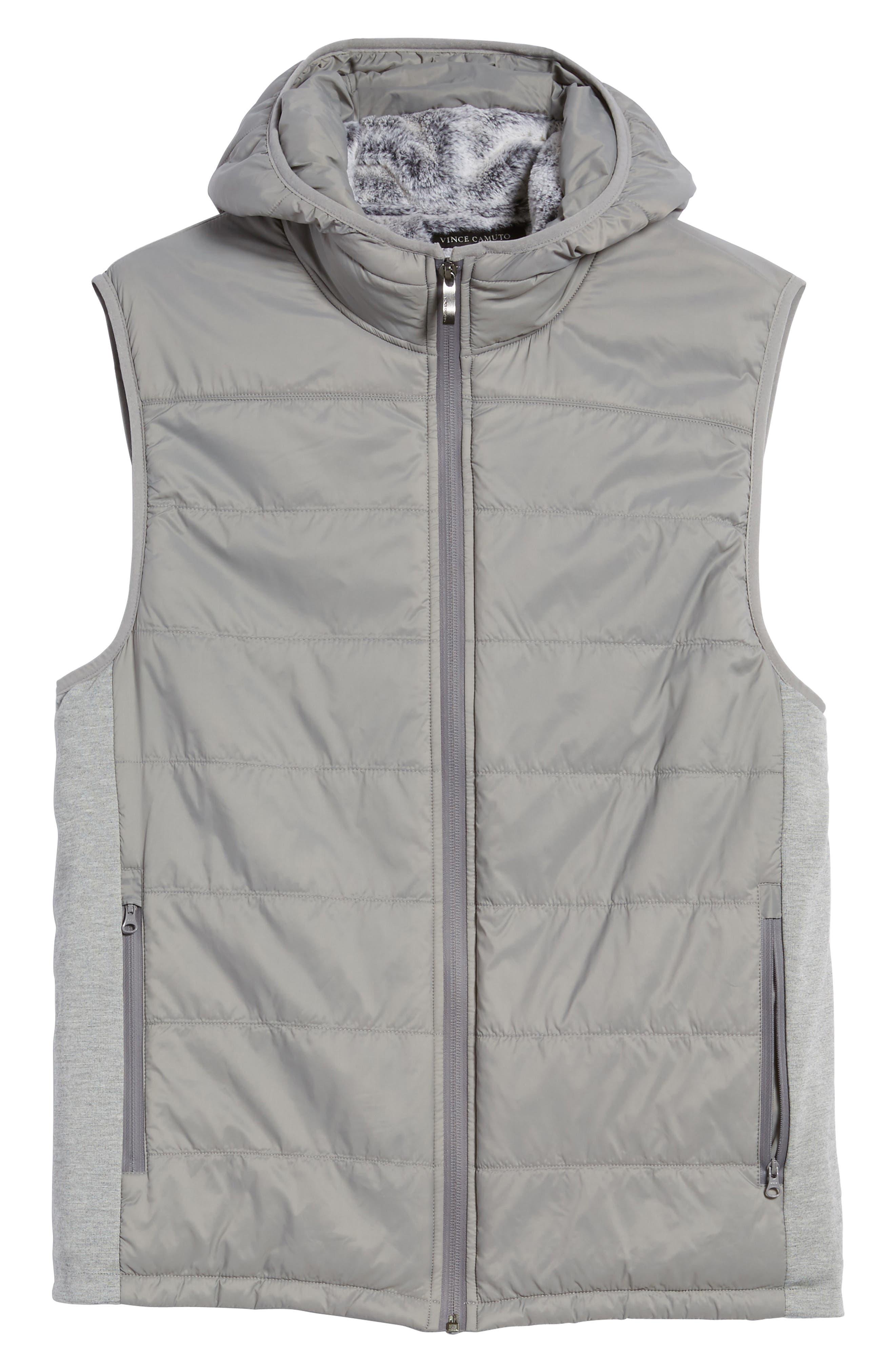 Hooded Vest,                             Alternate thumbnail 6, color,                             Silver