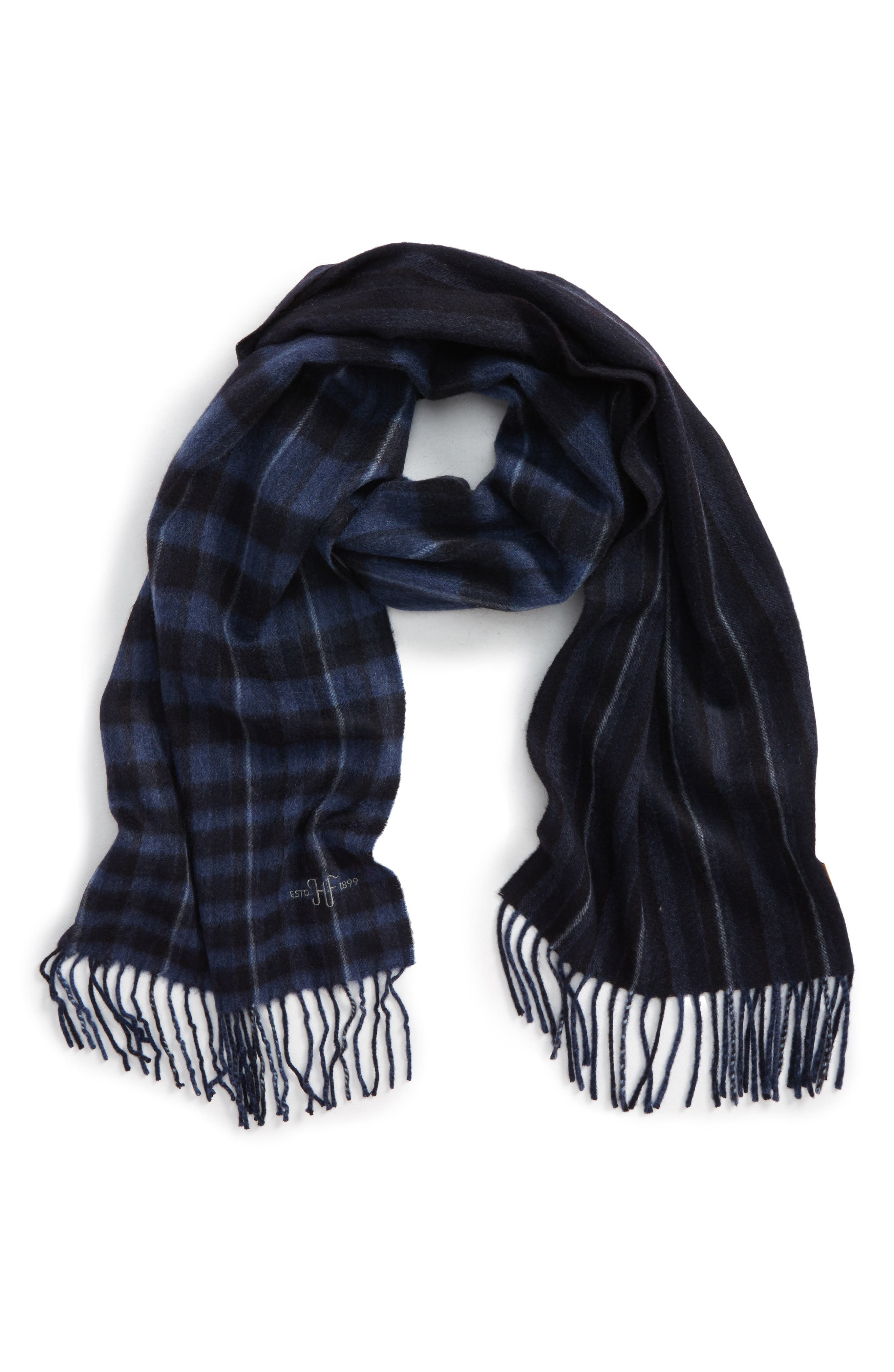 Hickey Freeman Plaid Stripe Cashmere Scarf
