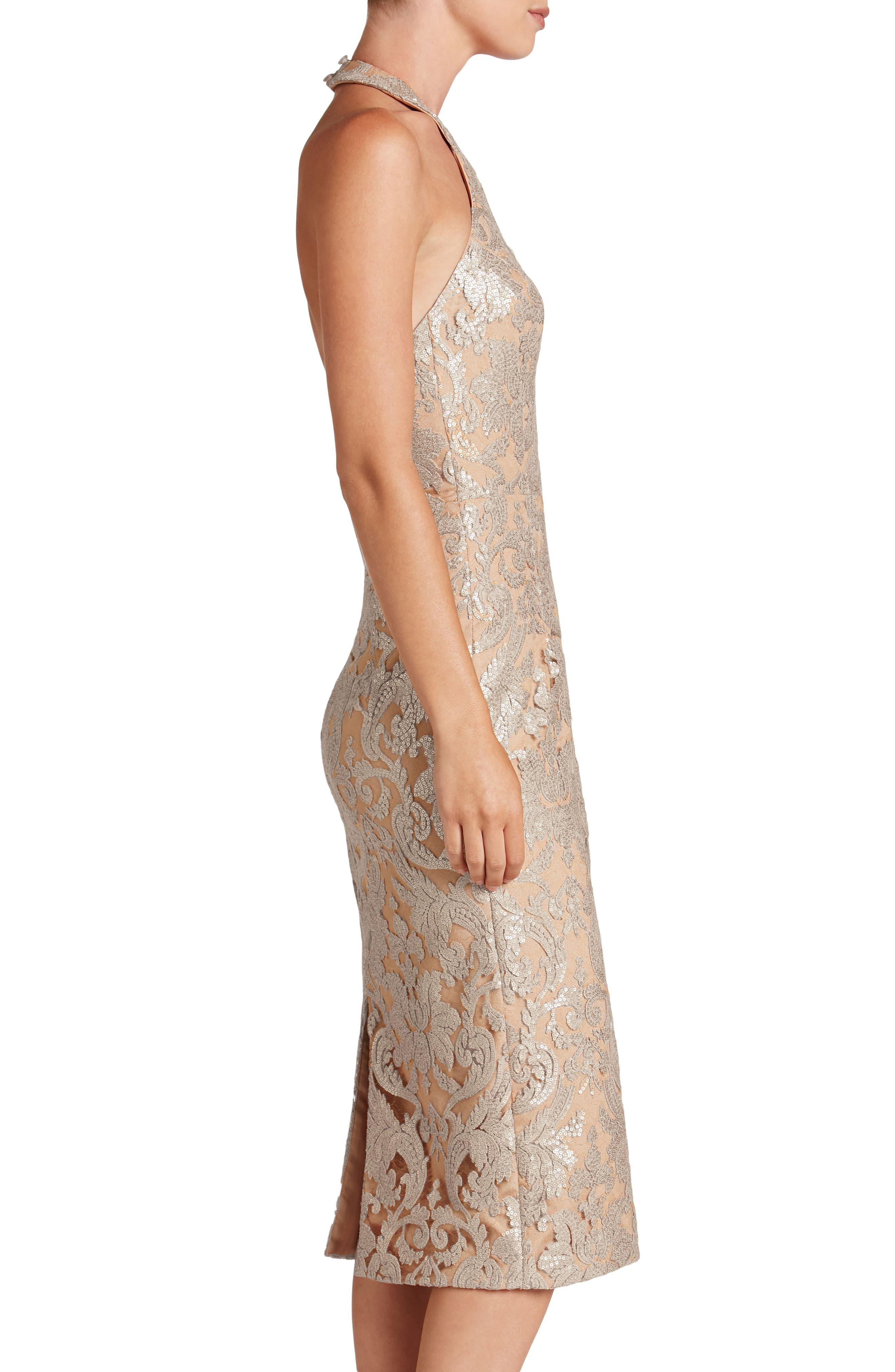Cassie Sequin Midi Dress,                             Alternate thumbnail 4, color,                             Platinum/ Nude