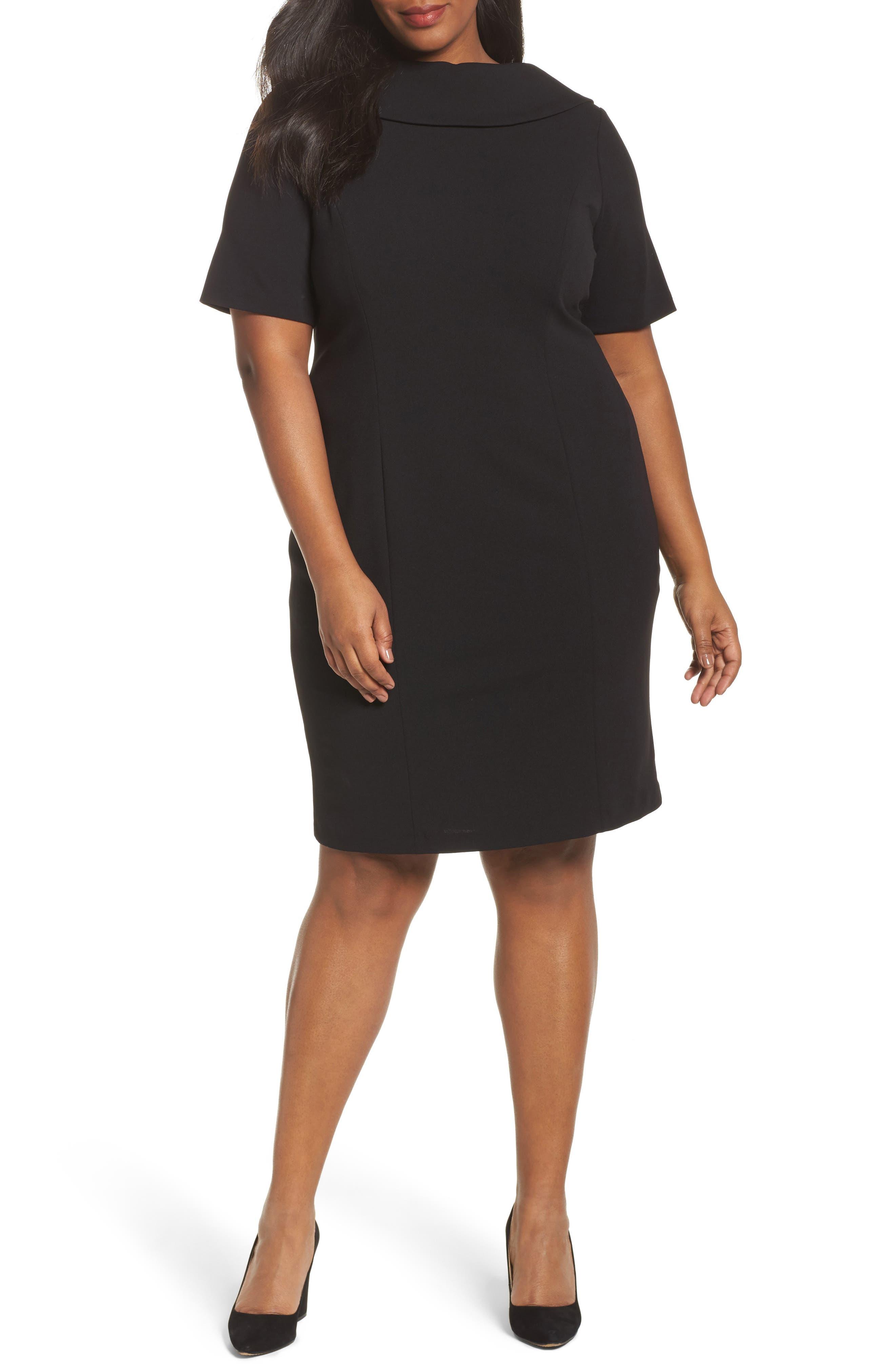 V-Back Sheath Dress,                             Main thumbnail 1, color,                             Black