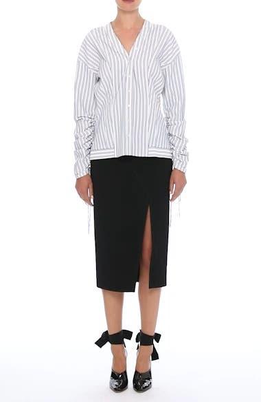 Stripe Cotton Blouse,                             Alternate thumbnail 8, color,