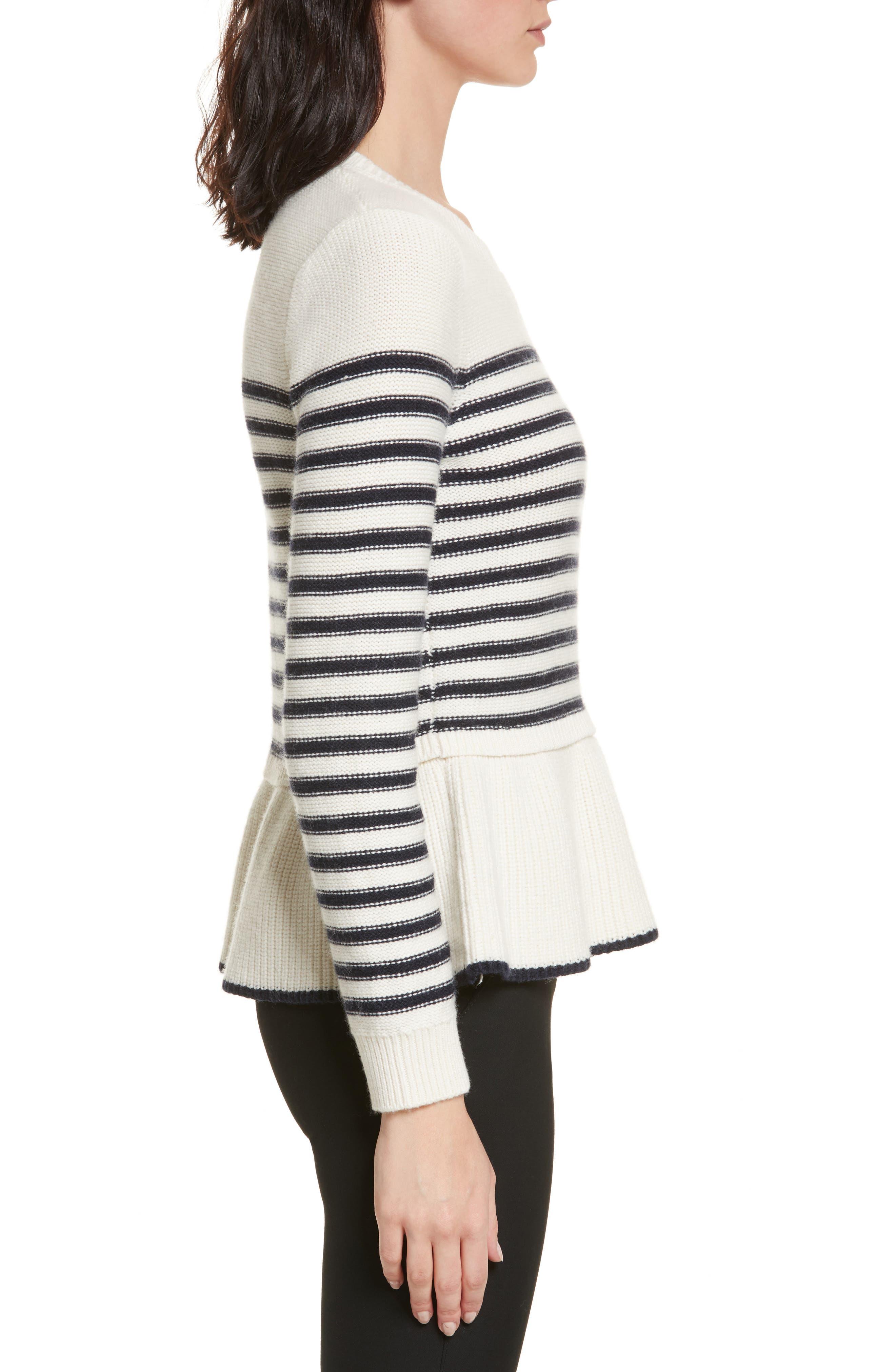 navy stripe peplum sweater,                             Alternate thumbnail 3, color,                             Cream/ Rich Navy
