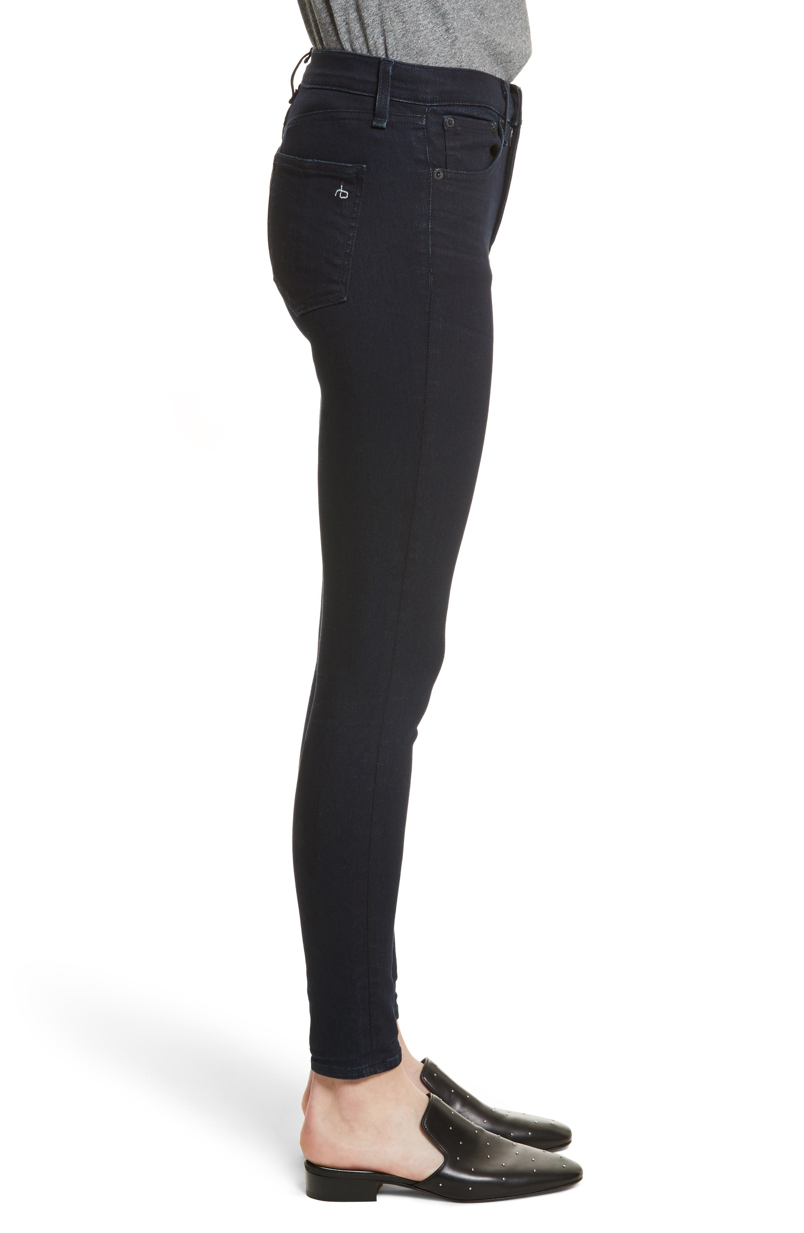 Alternate Image 3  - rag & bone/JEAN High Waist Ankle Skinny Jeans (Twilight)