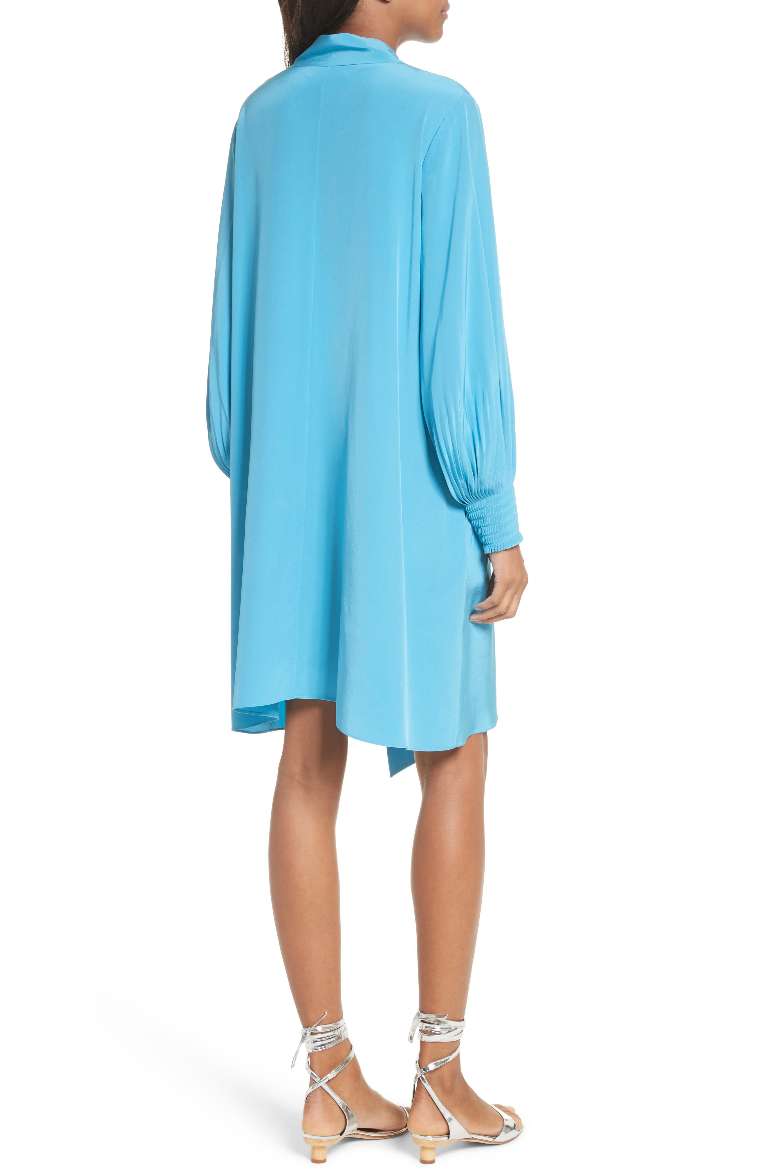 Arielle Tie Front Silk Shift Dress,                             Alternate thumbnail 2, color,                             Bowery Blue