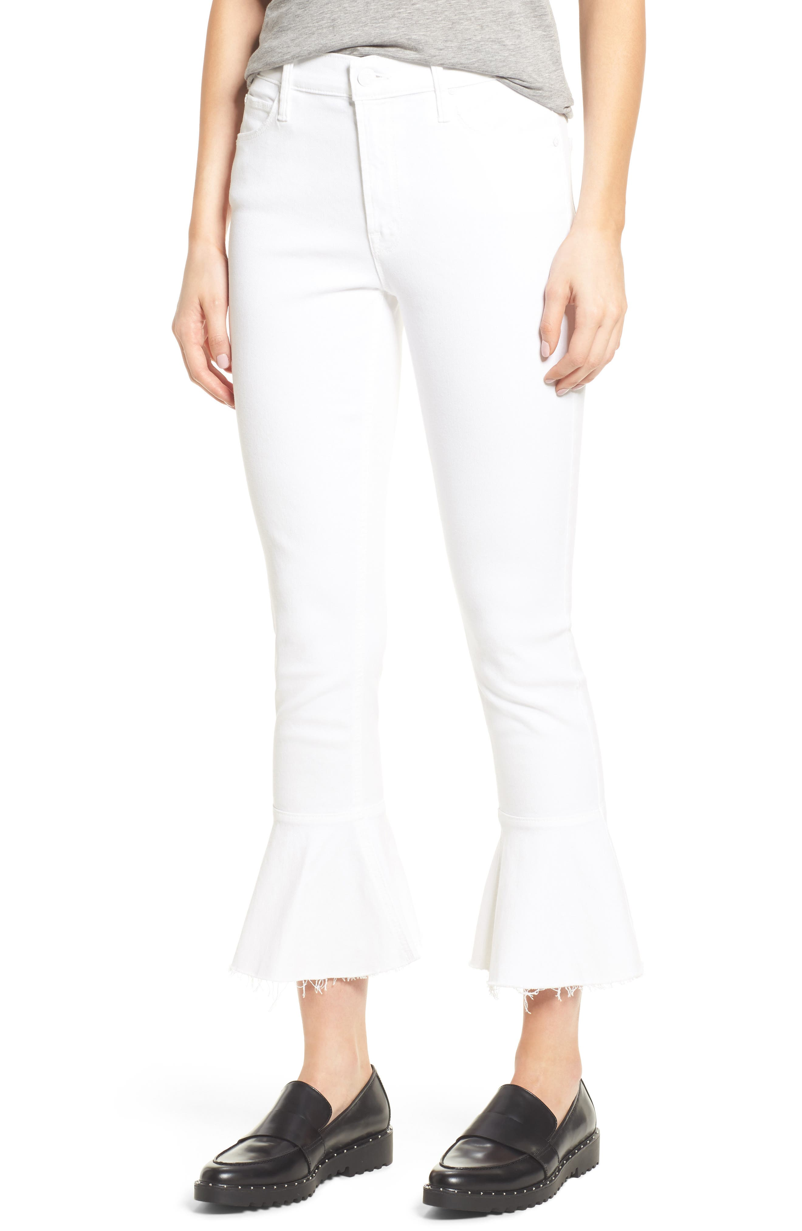 MOTHER The Cha Cha Frayed Crop Flare Jeans (Glass Slipper)
