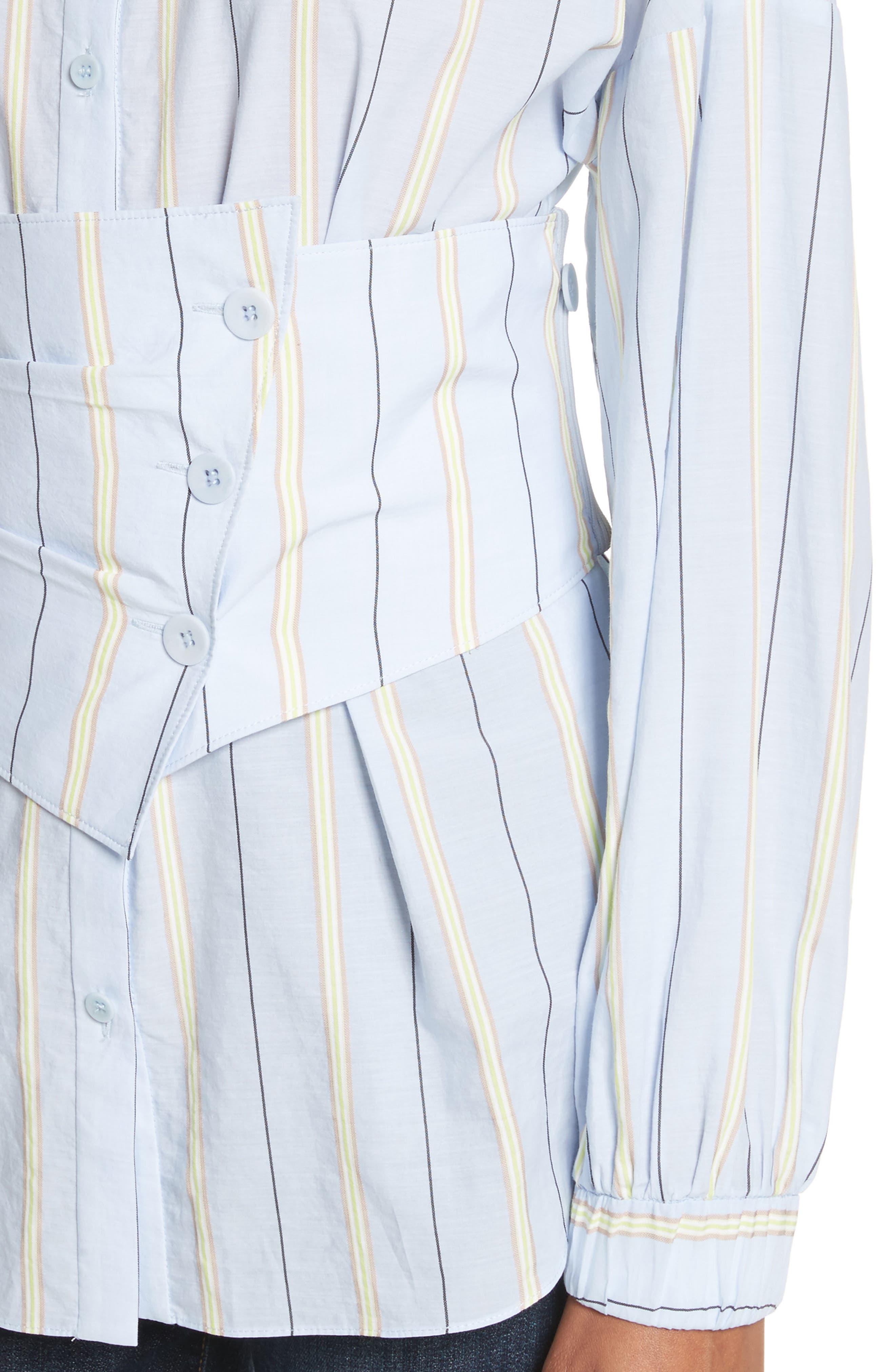 Removable Corset Stripe Shirt,                             Alternate thumbnail 4, color,                             Blue Stripe Multi