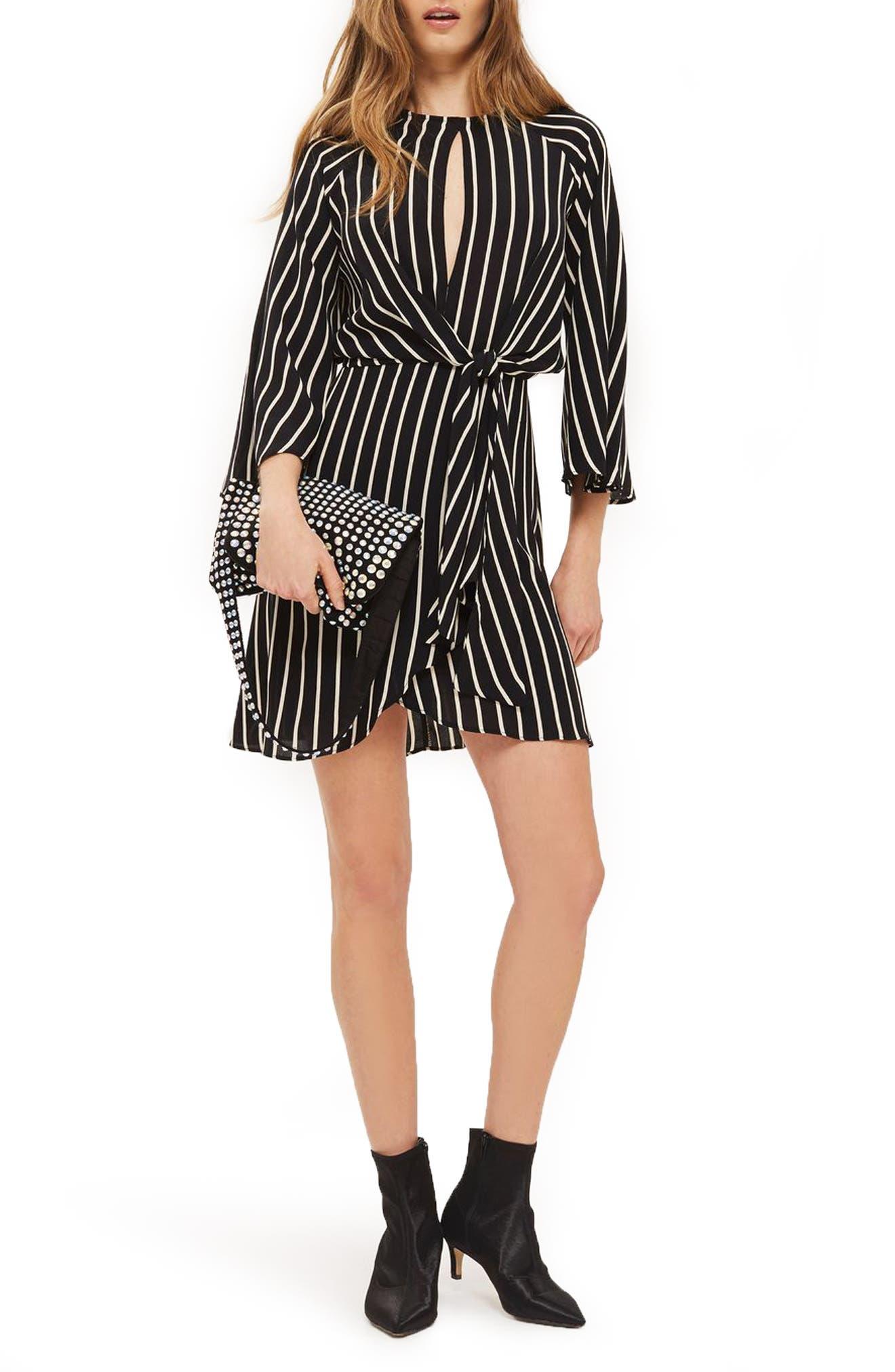 Stripe Knot Front Minidress,                         Main,                         color, Black Multi