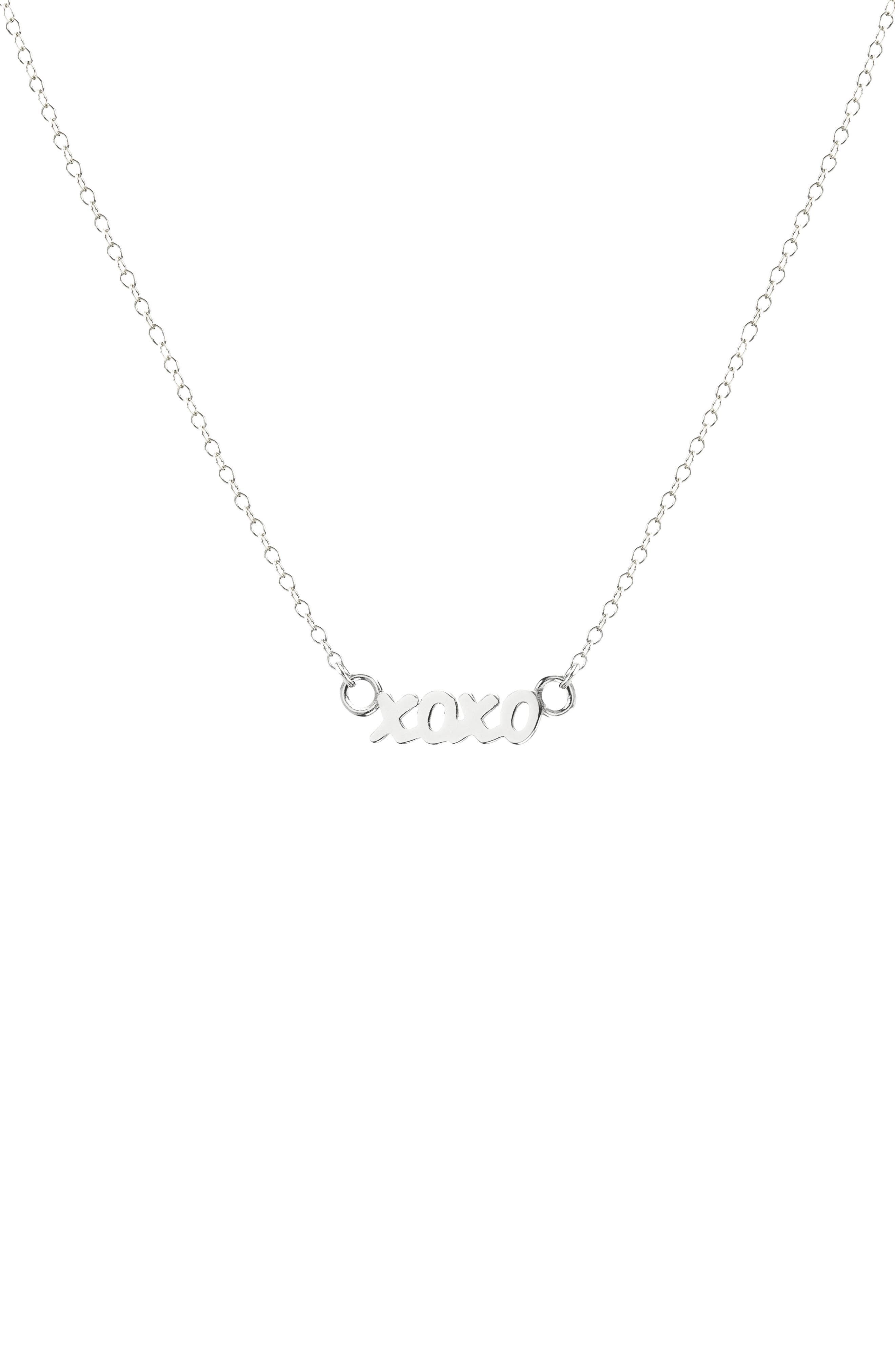 XOXO Script Necklace,                         Main,                         color, Silver