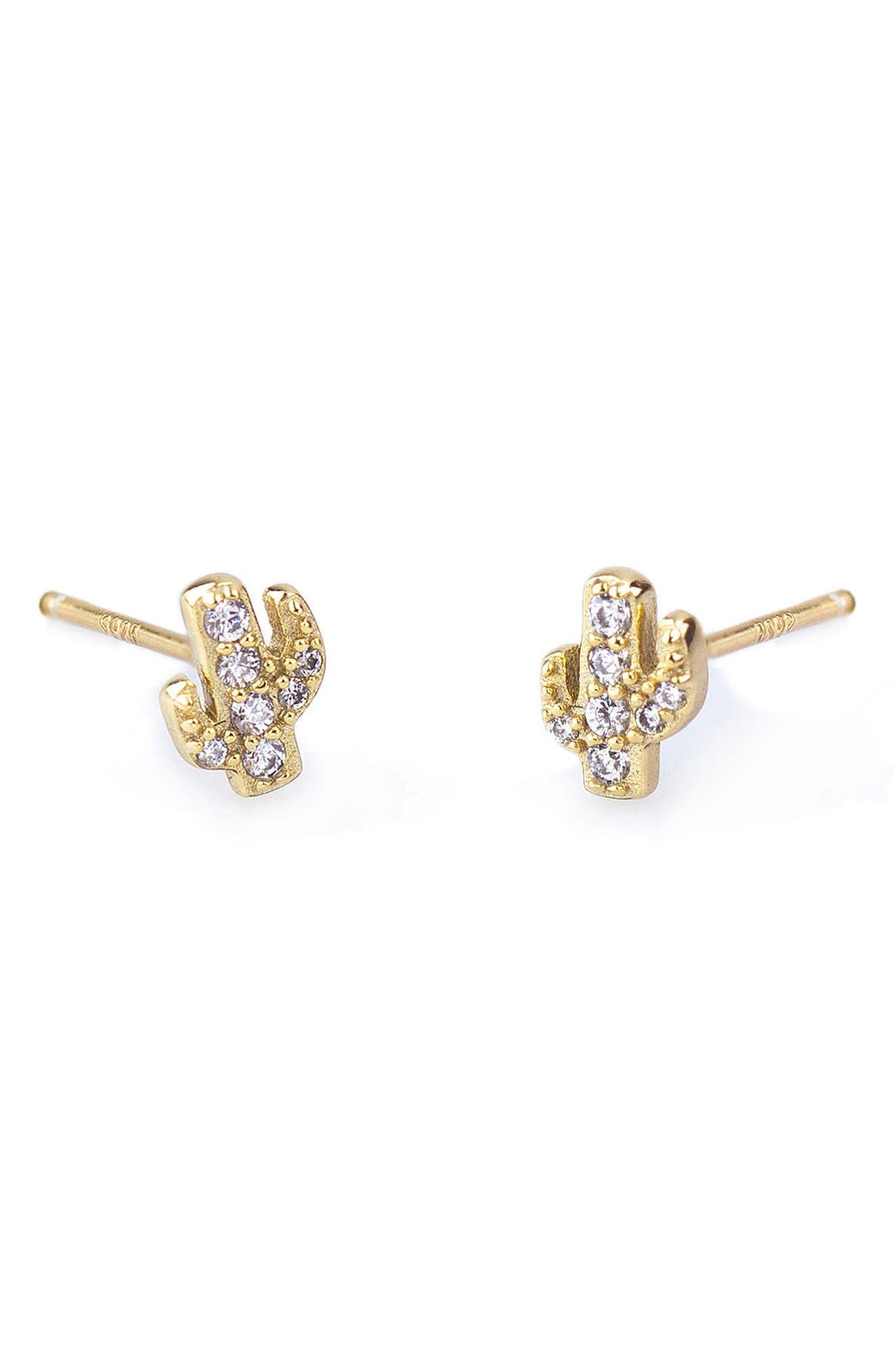 Pavé Cactus Stud Earrings,                         Main,                         color, Gold