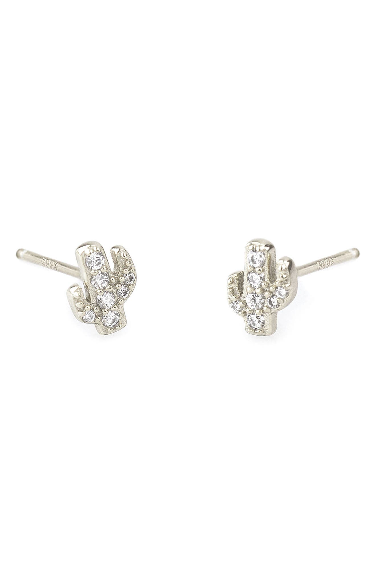 Main Image - Kris Nations Pavé Cactus Stud Earrings