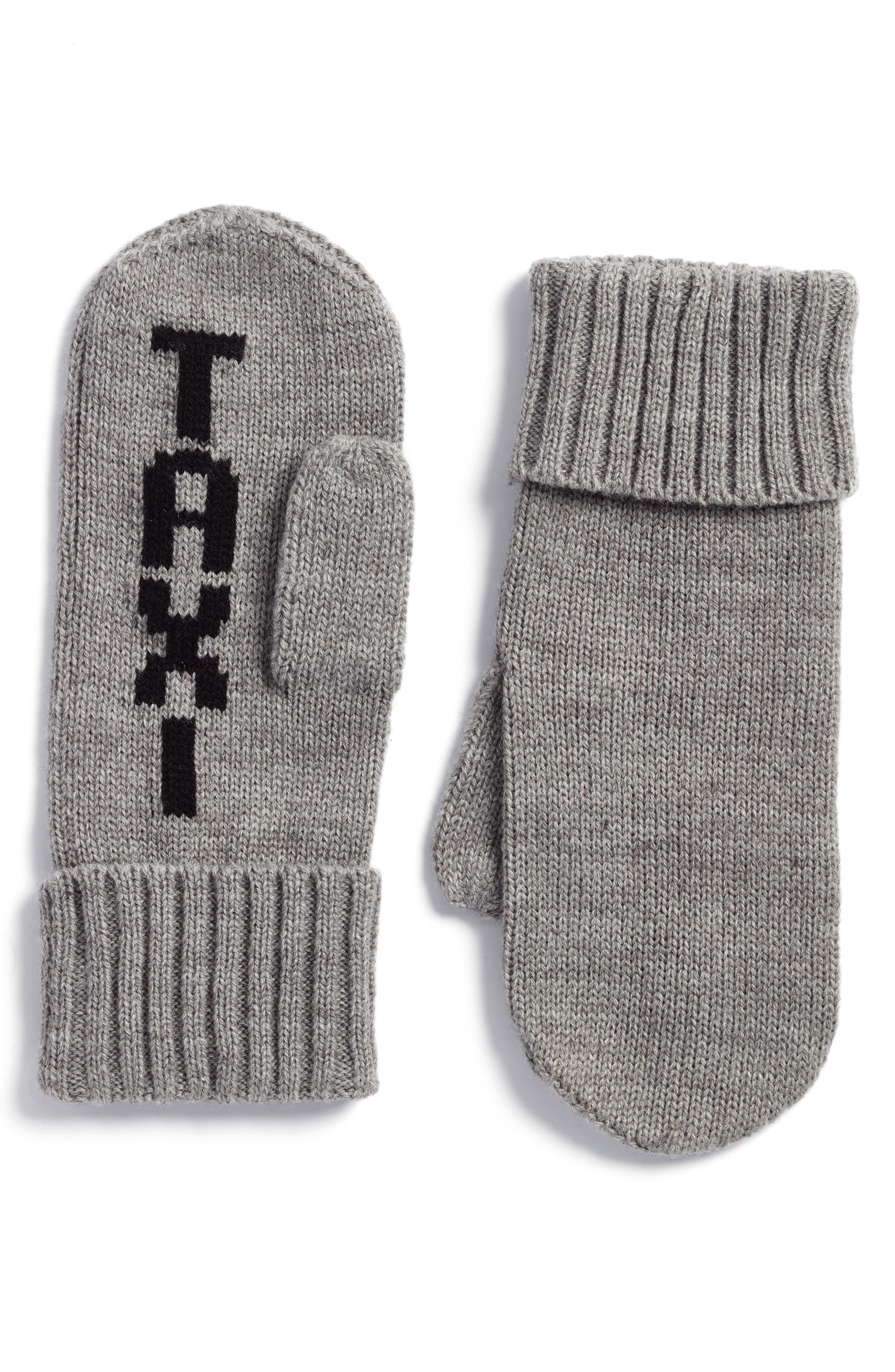 taxi mittens,                             Main thumbnail 1, color,                             Heather Gray/ Black