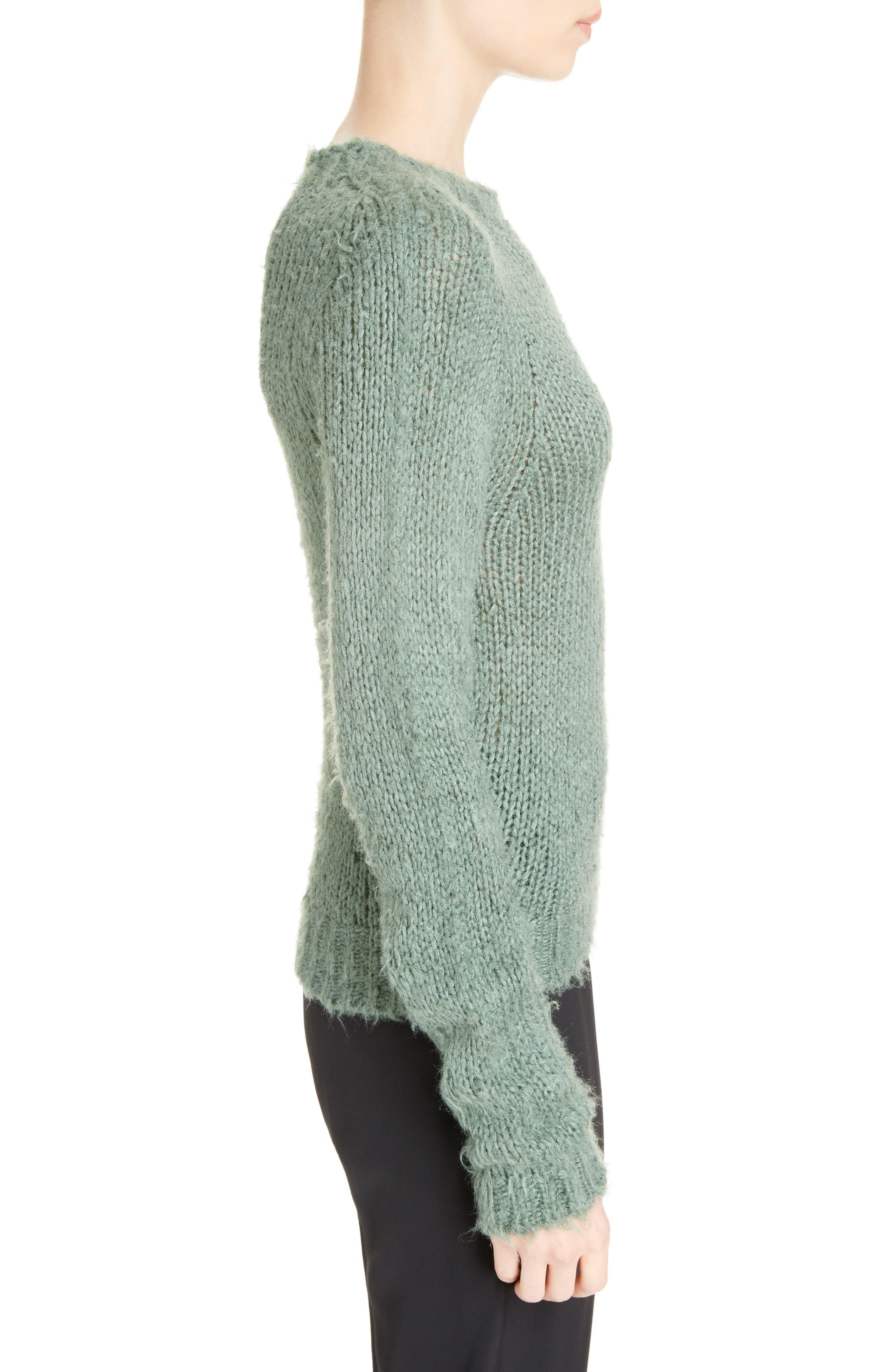 Knit Silk Sweater,                             Alternate thumbnail 3, color,                             Sage