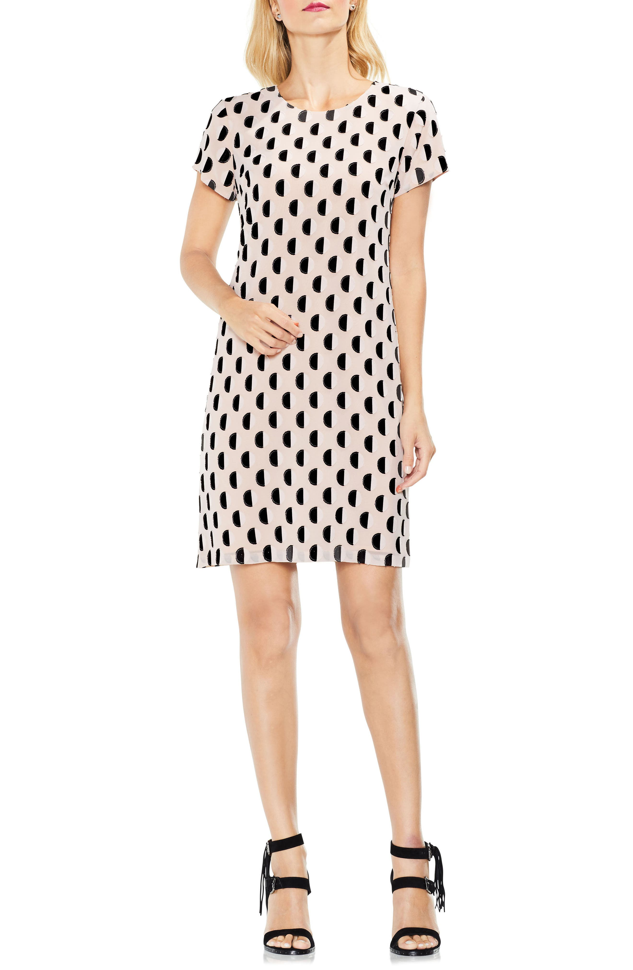 Graphic Clip Dot Shift Dress,                             Alternate thumbnail 3, color,                             Rose Buff