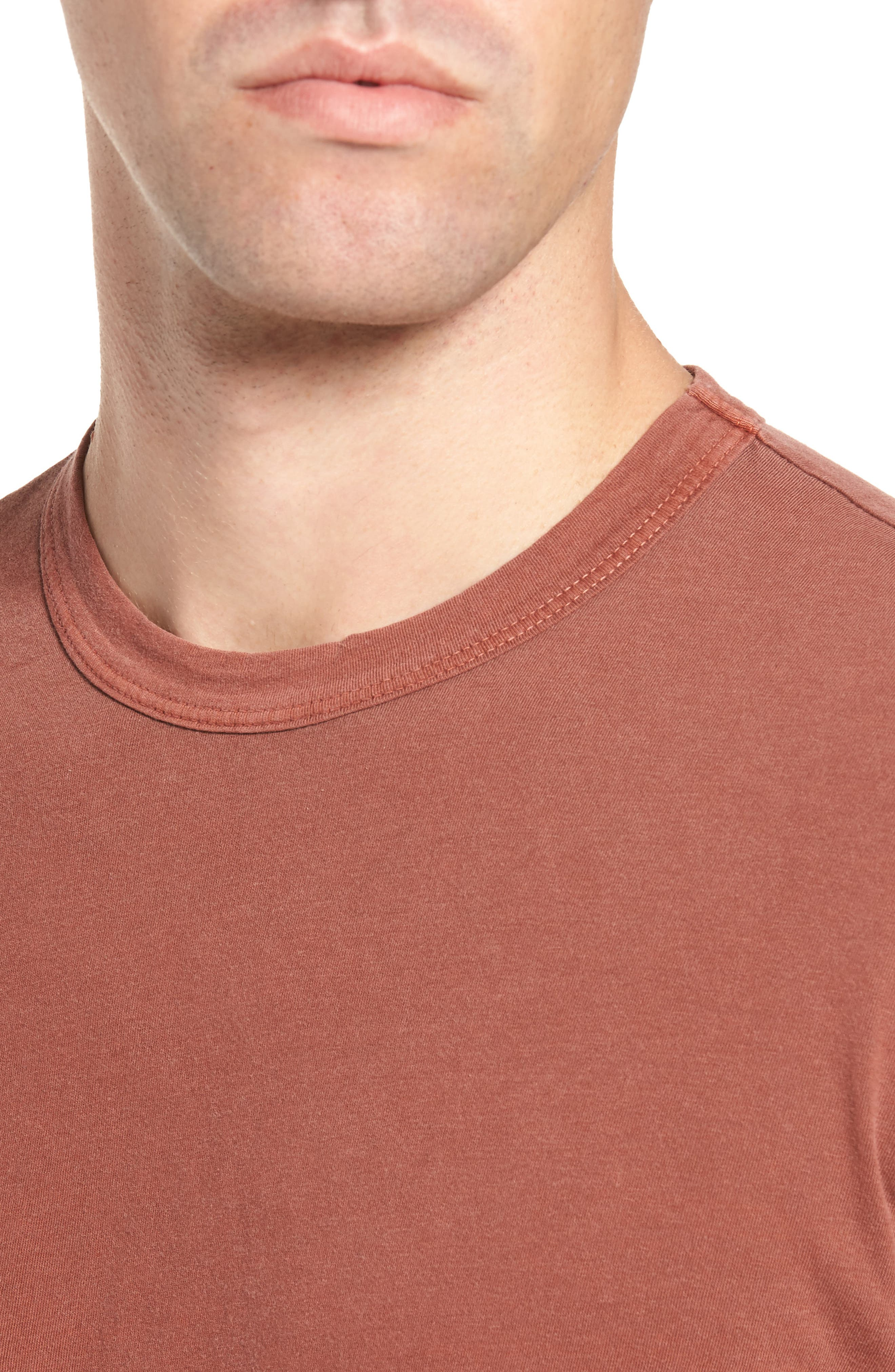 Crewneck Jersey T-Shirt,                             Alternate thumbnail 4, color,                             Red Clay