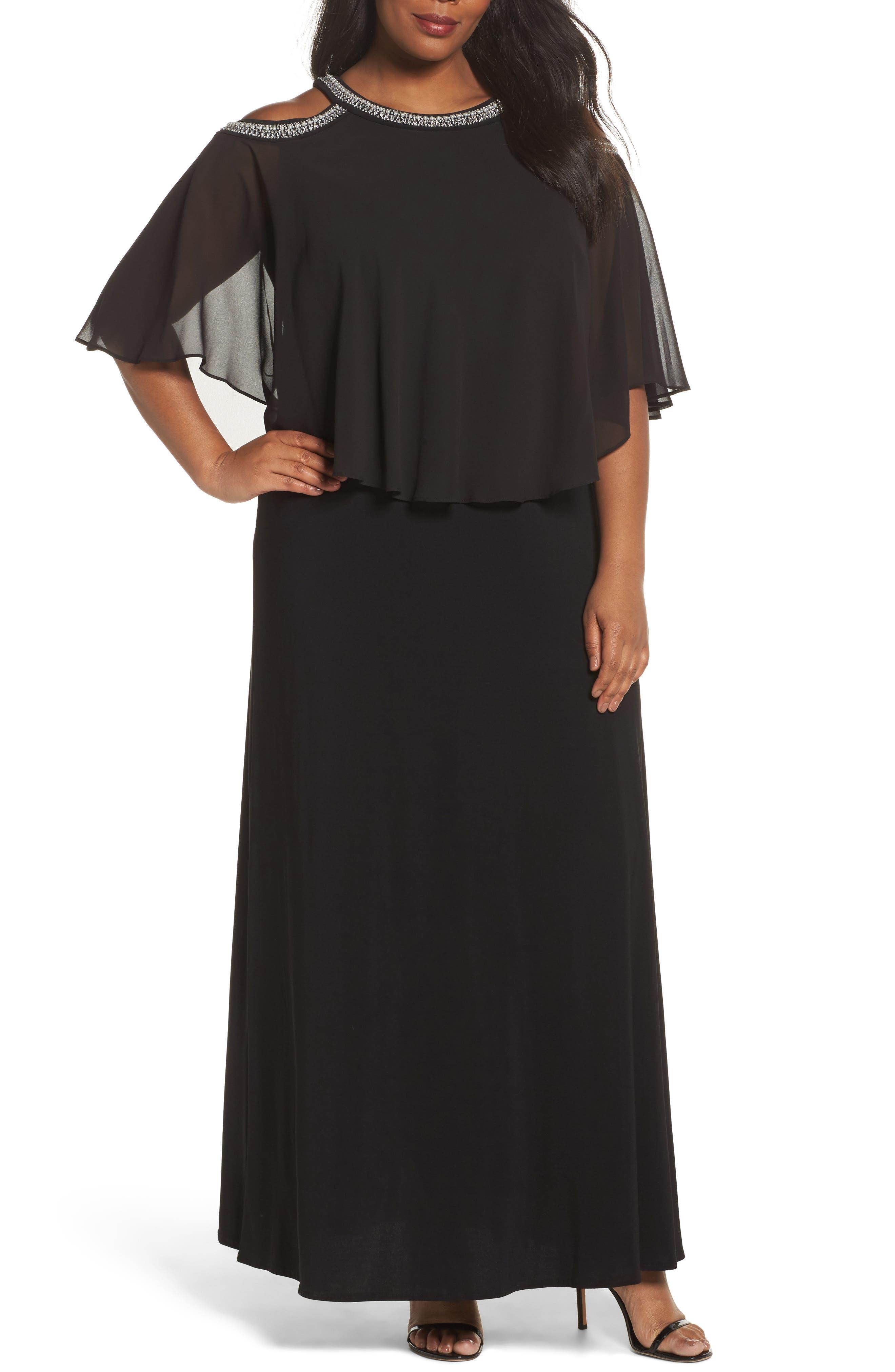 Embellished Cold Shoulder Popover Gown,                             Main thumbnail 1, color,                             Black