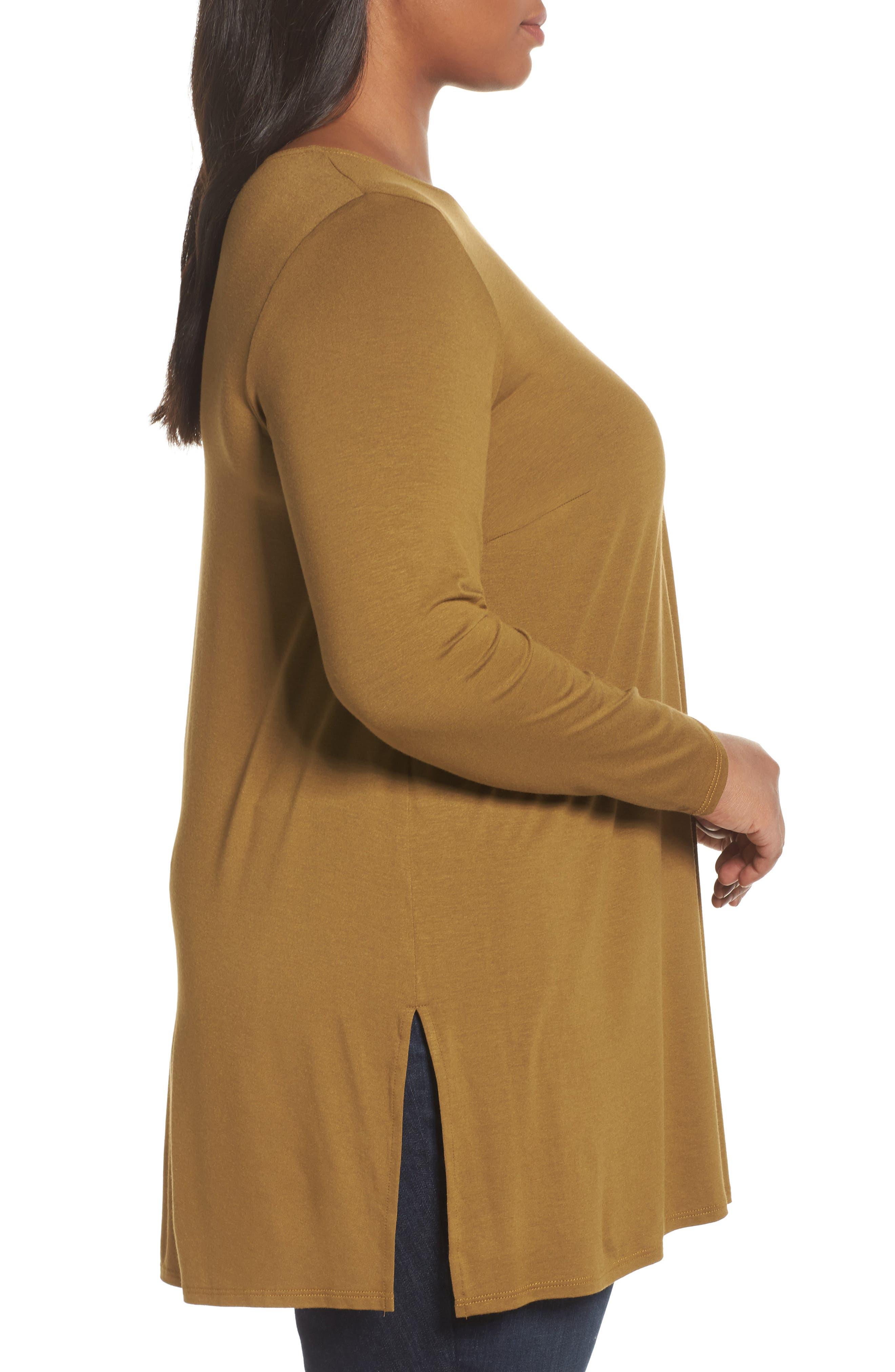 Alternate Image 3  - Eileen Fisher Round Neck Jersey Tunic (Plus Size)