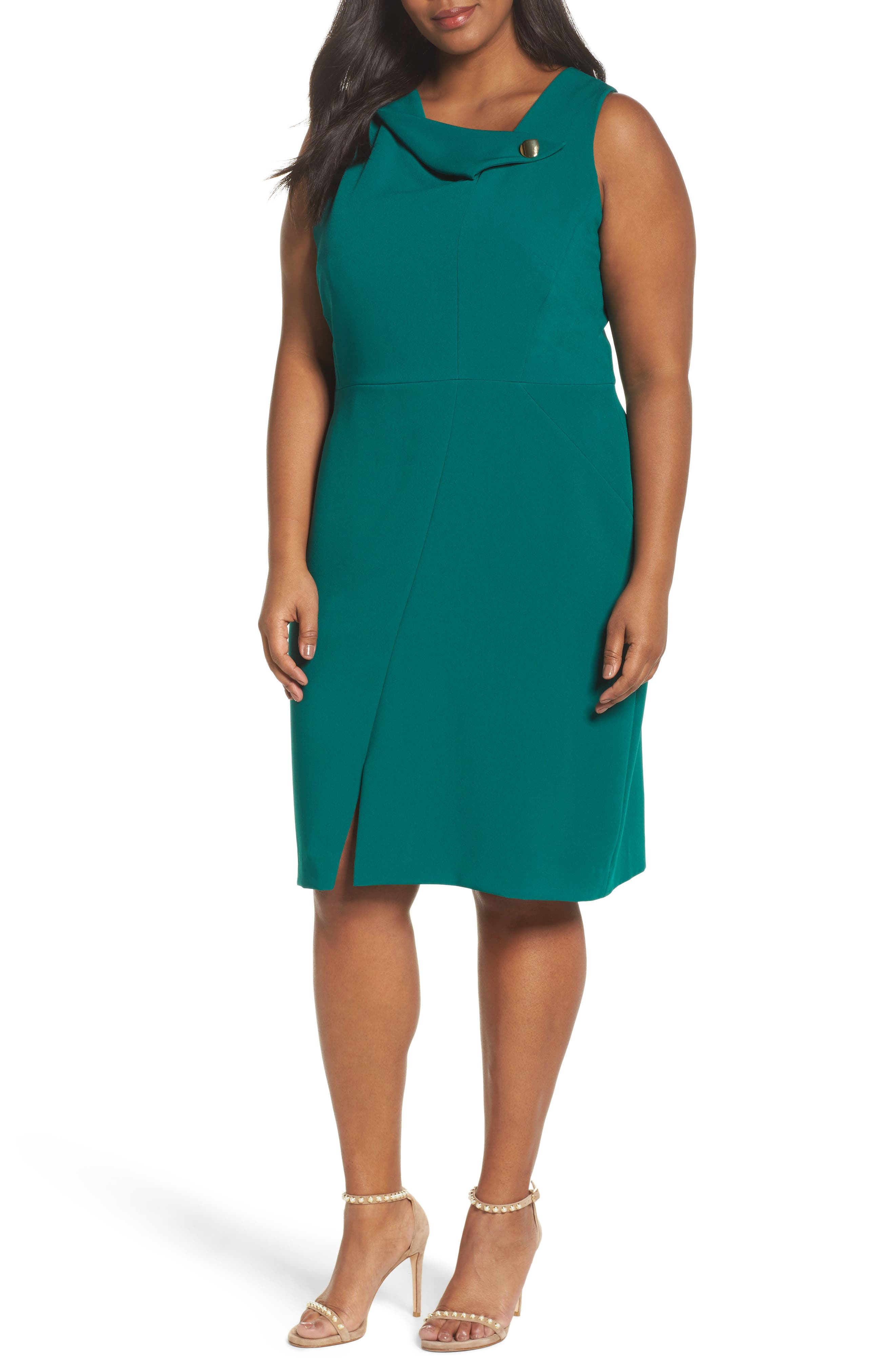 Main Image - Tahari Envelope Neck with Button Sheath Dress (Plus Size)