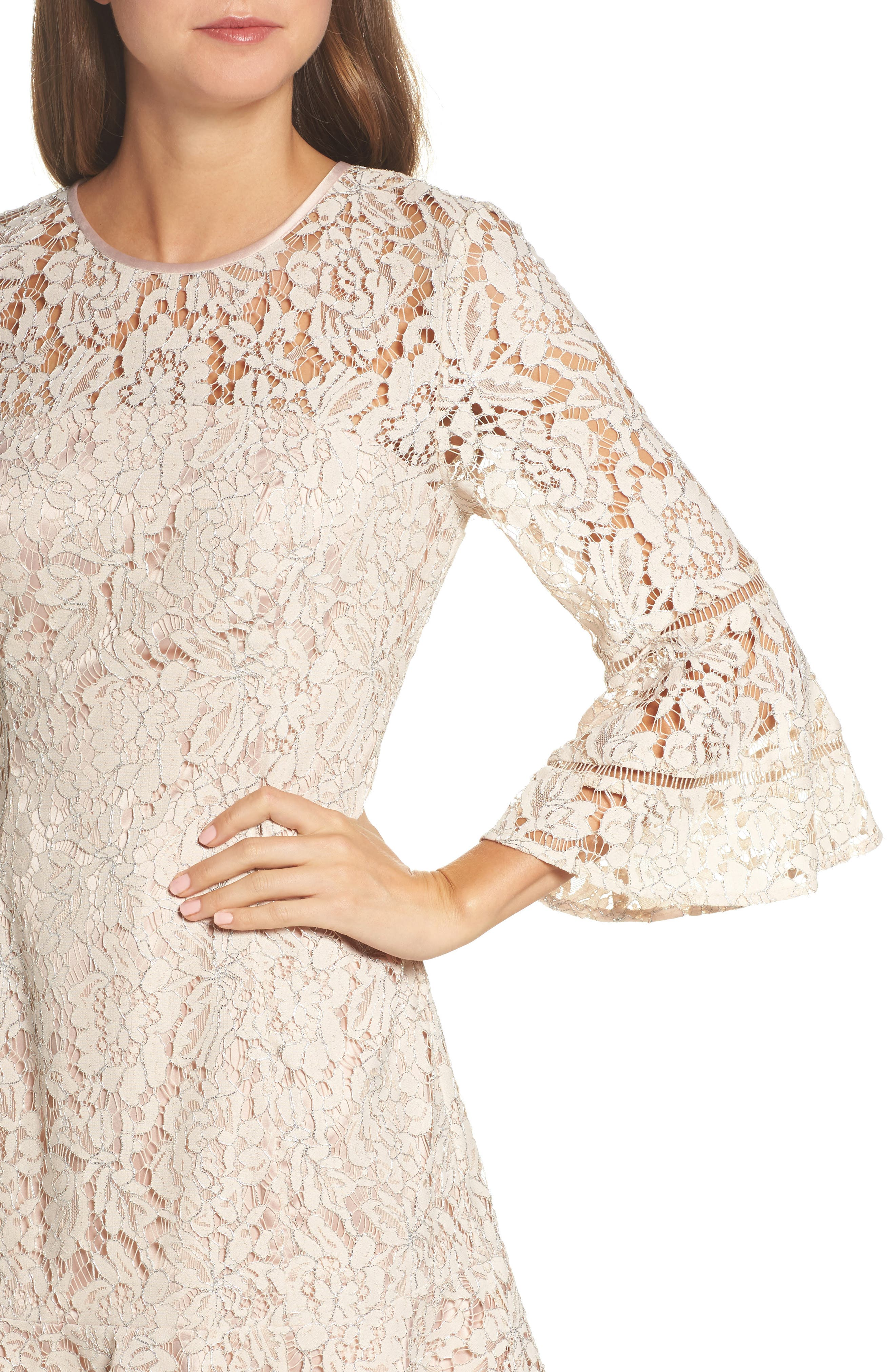 Lace Bell Sleeve Dress,                             Alternate thumbnail 4, color,                             Blush/ Silver