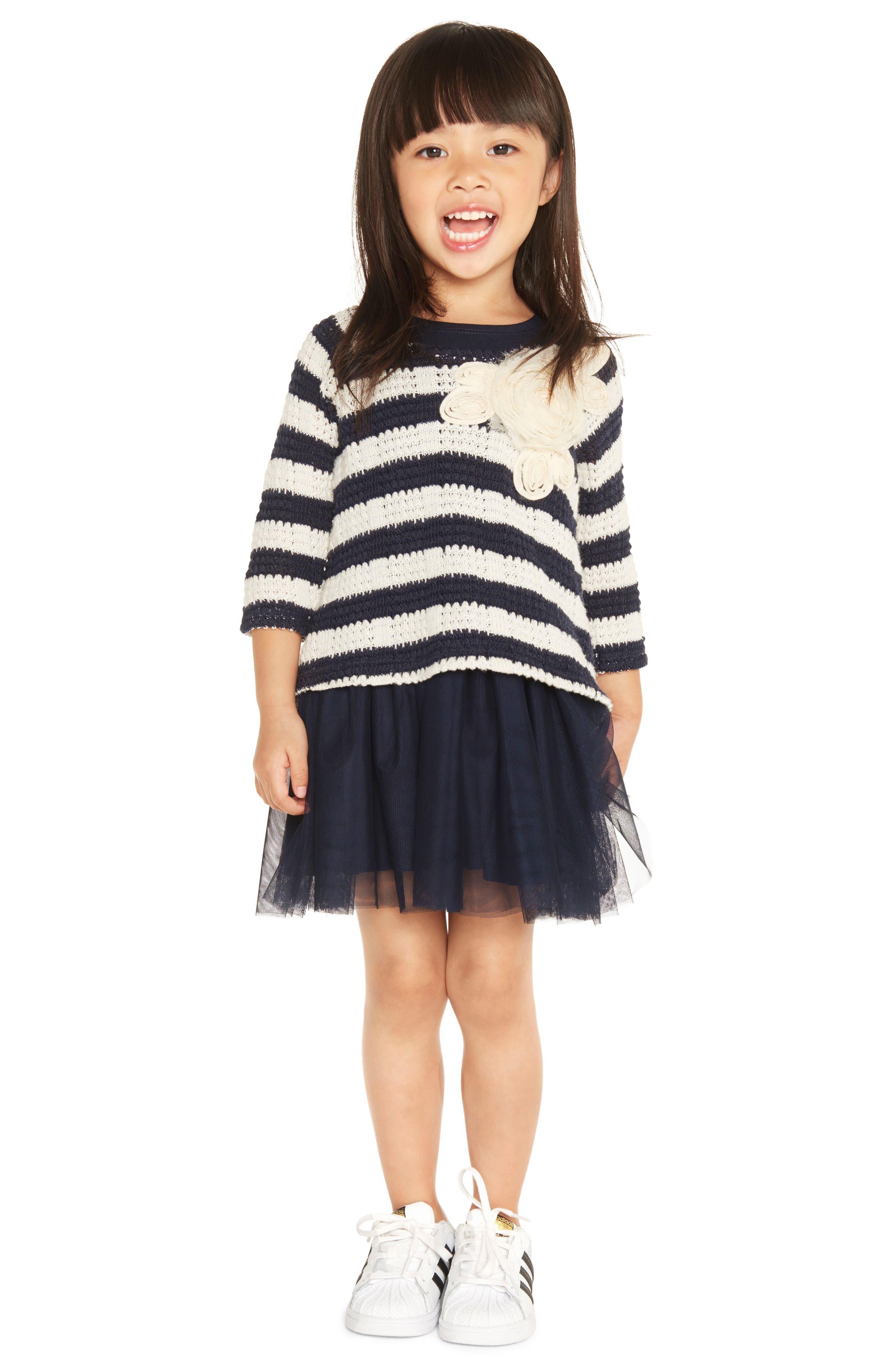 Stripe Sweater, Tunic & Leggings Set,                             Alternate thumbnail 3, color,                             Navy/ Ivory