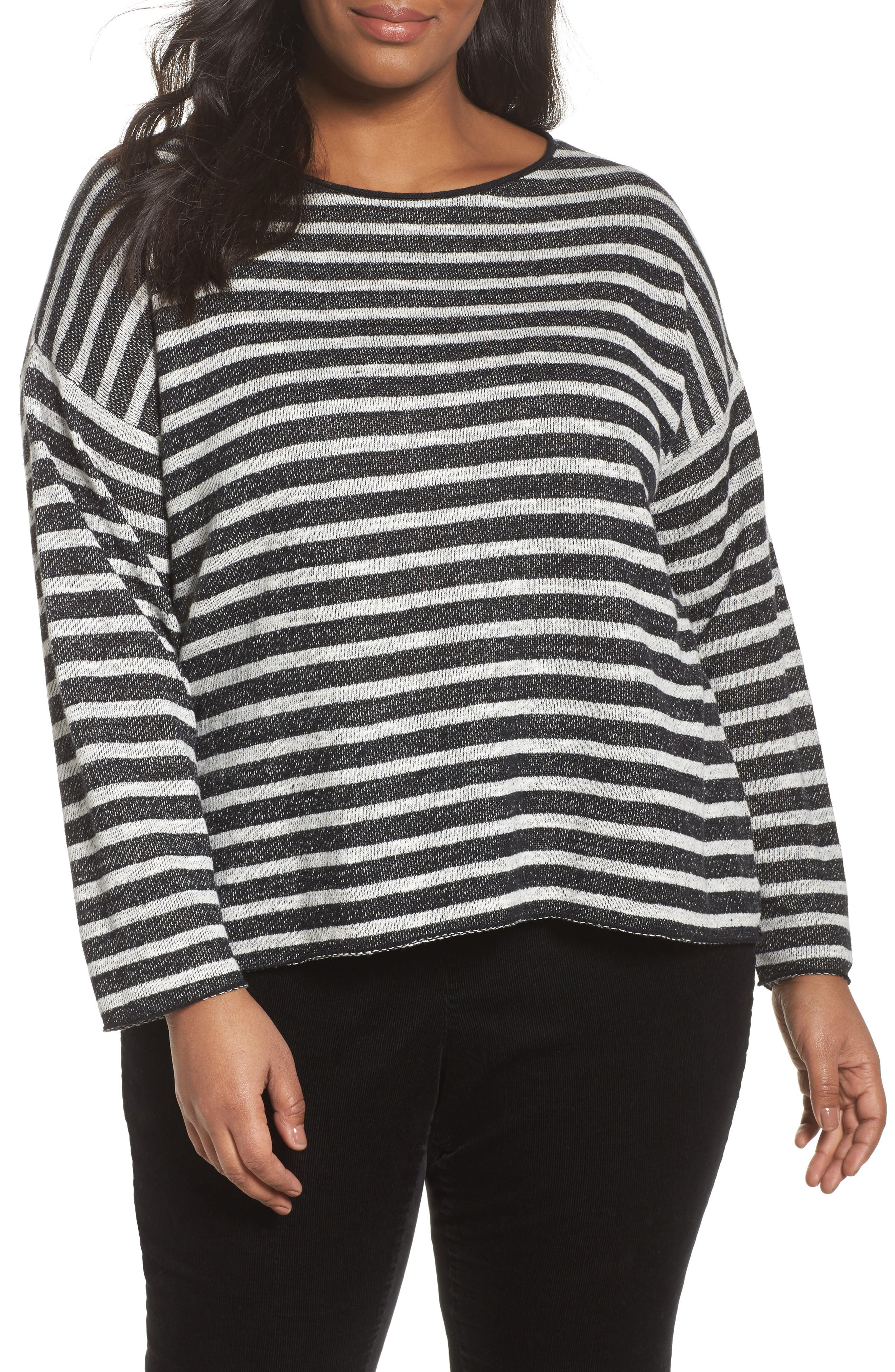 Alternate Image 1 Selected - Eileen Fisher Striped Pullover (Plus Size)