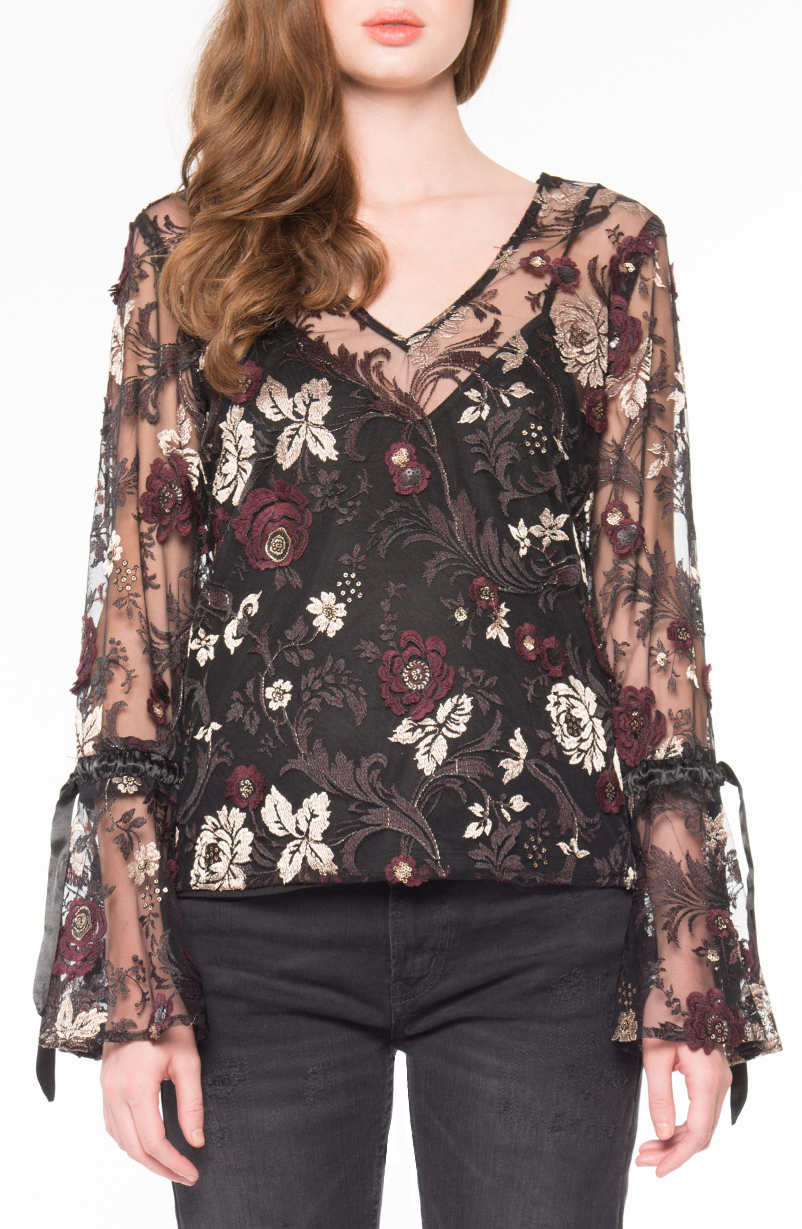 Embroidered Mesh Blouse,                         Main,                         color, Black