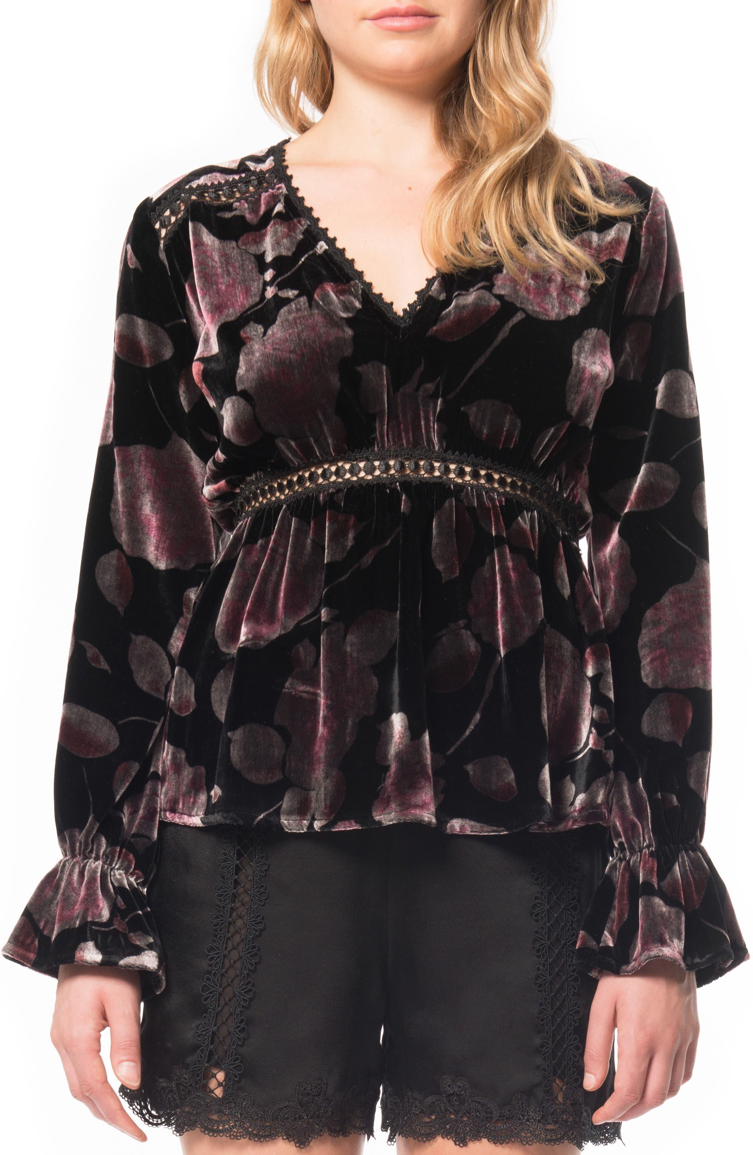 Print Velvet Top,                         Main,                         color, Black