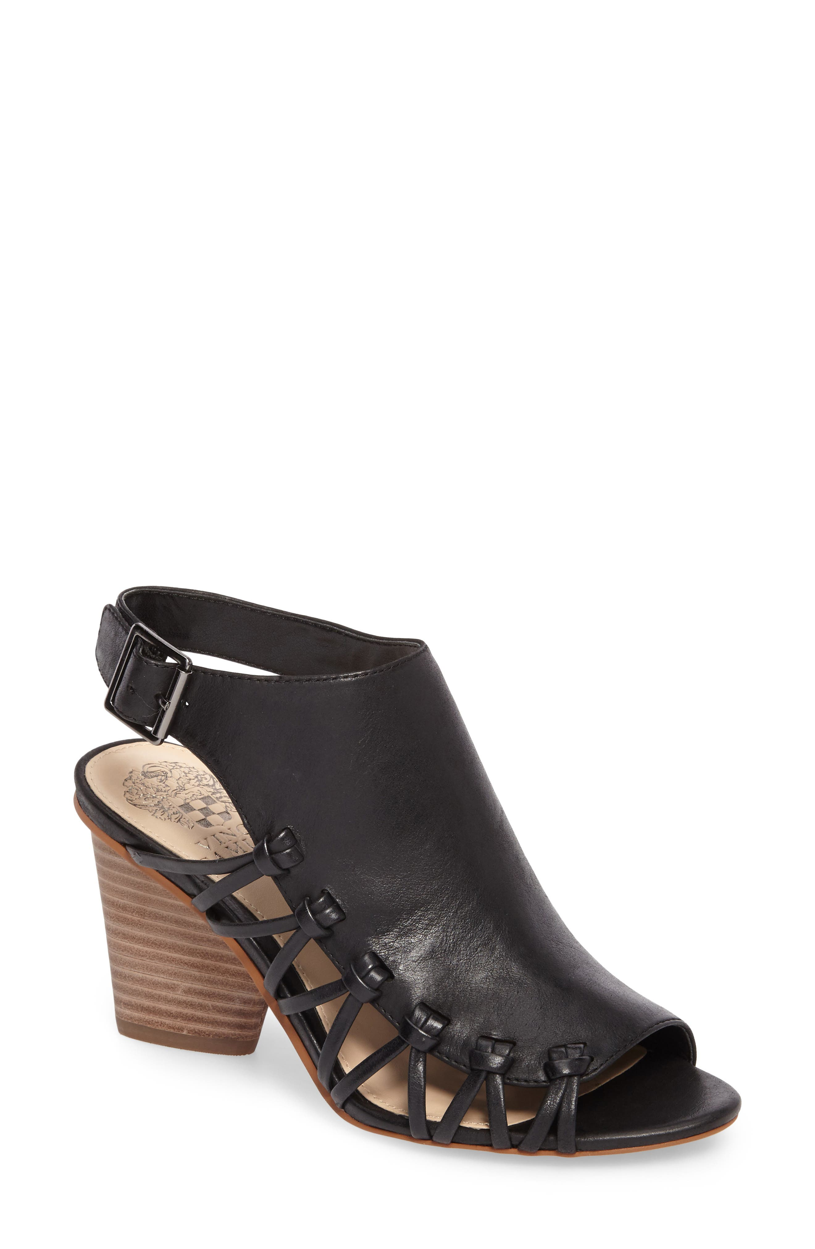 Ankara Sandal,                         Main,                         color, Black Leather