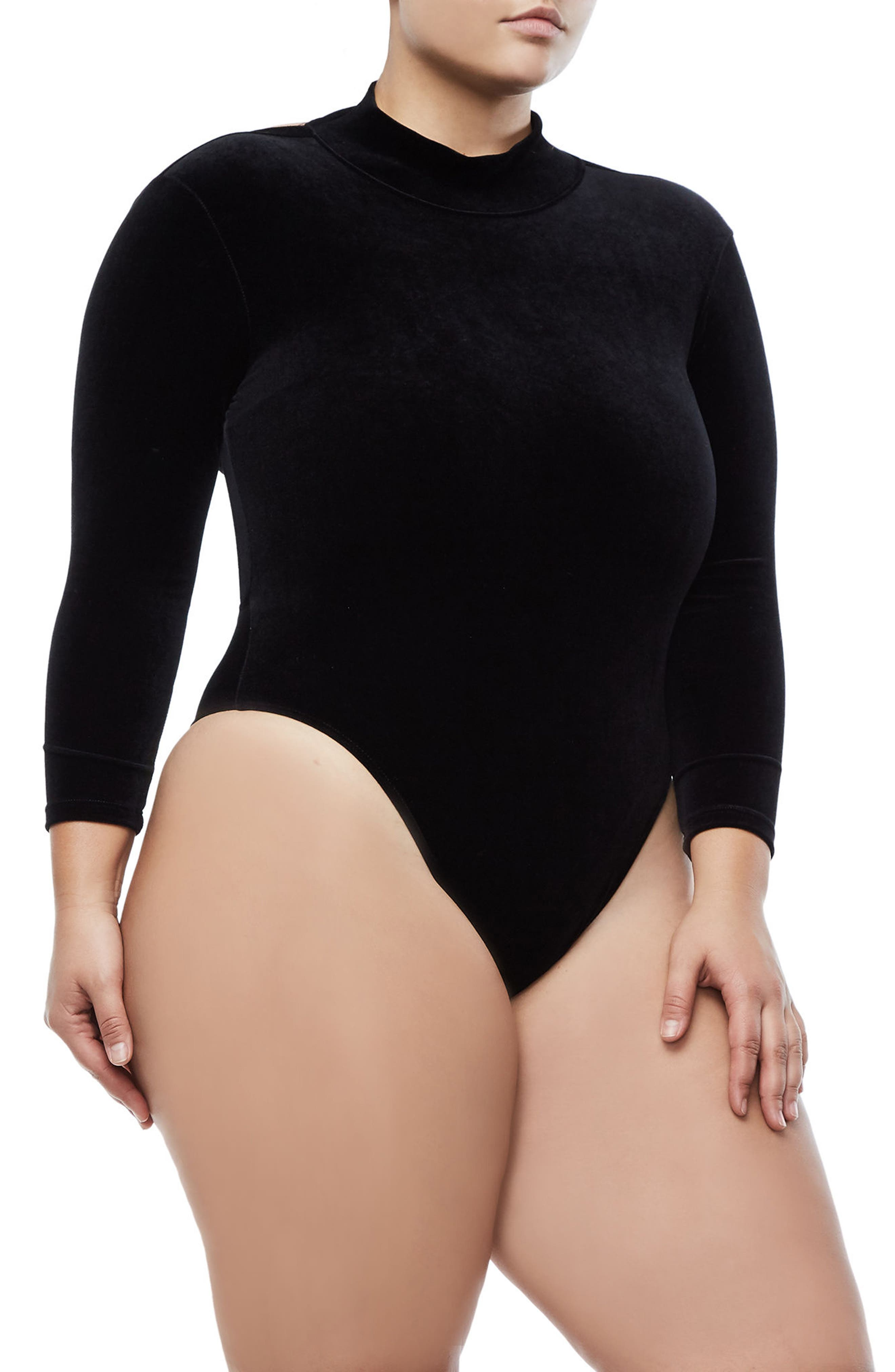 Backless Velvet Bodysuit,                             Alternate thumbnail 6, color,                             Black001