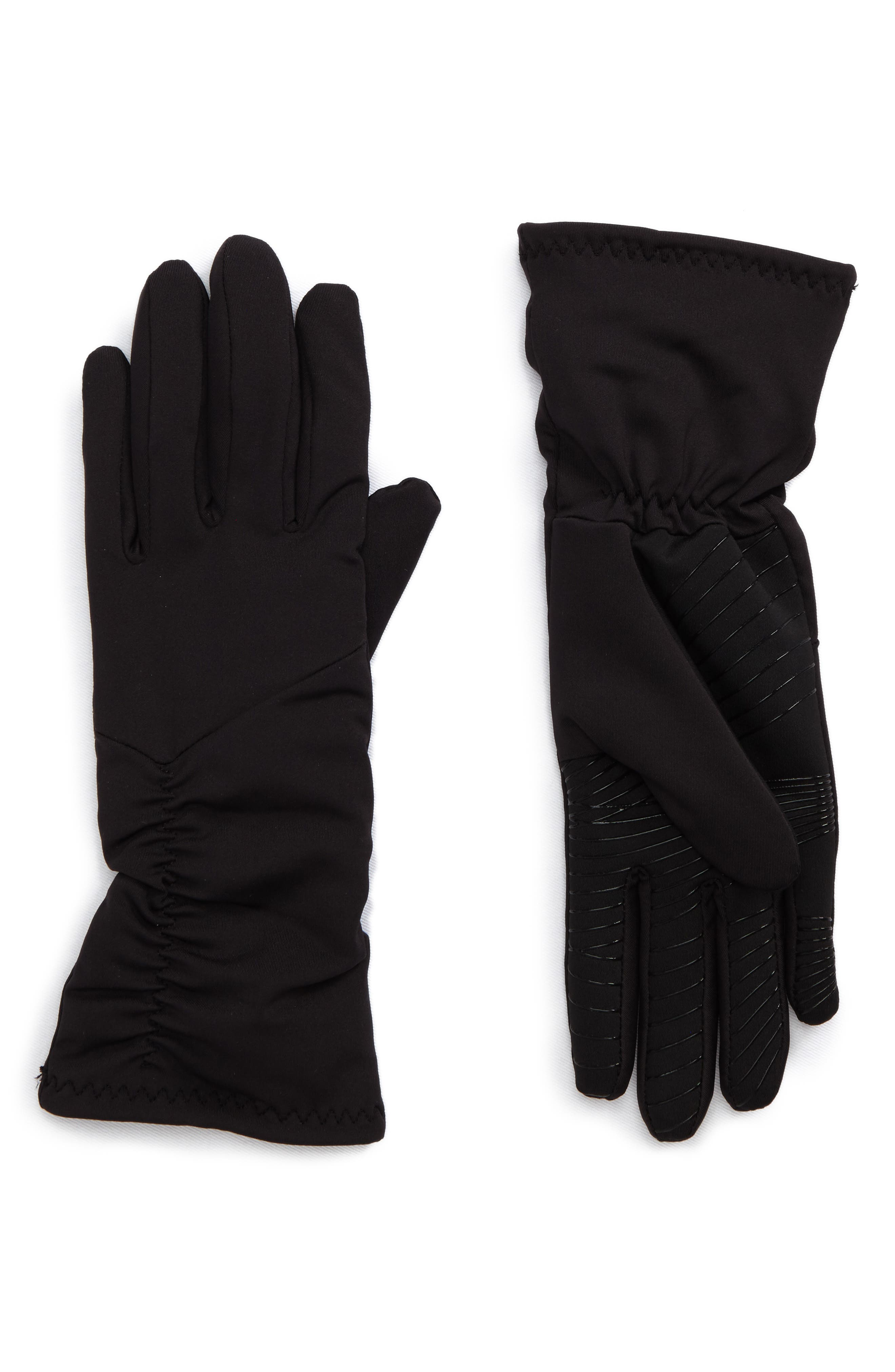 Ruched Stretch Tech Gloves,                             Main thumbnail 1, color,                             Black