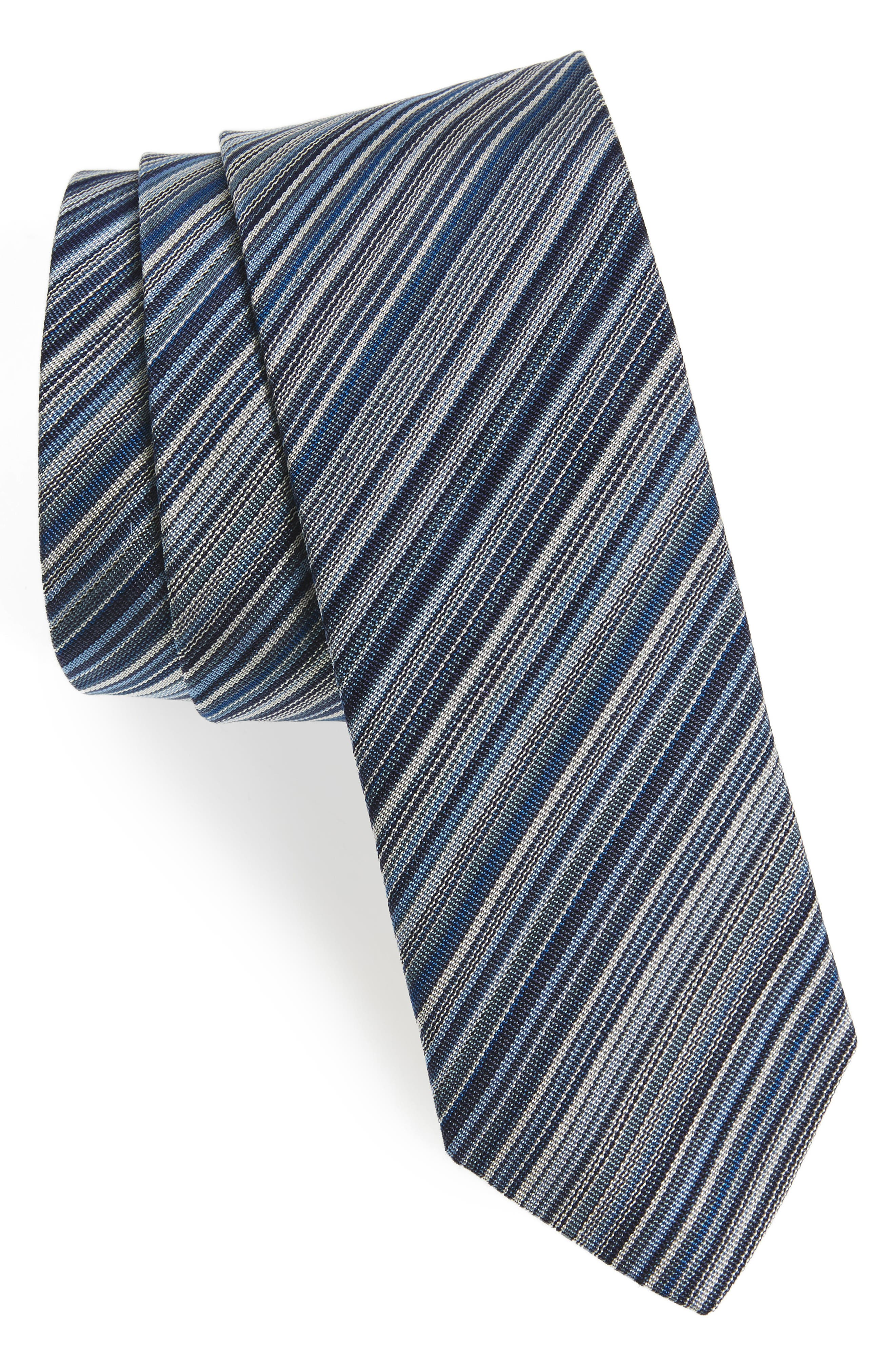 Paul Smith Multistripe Silk Skinny Tie