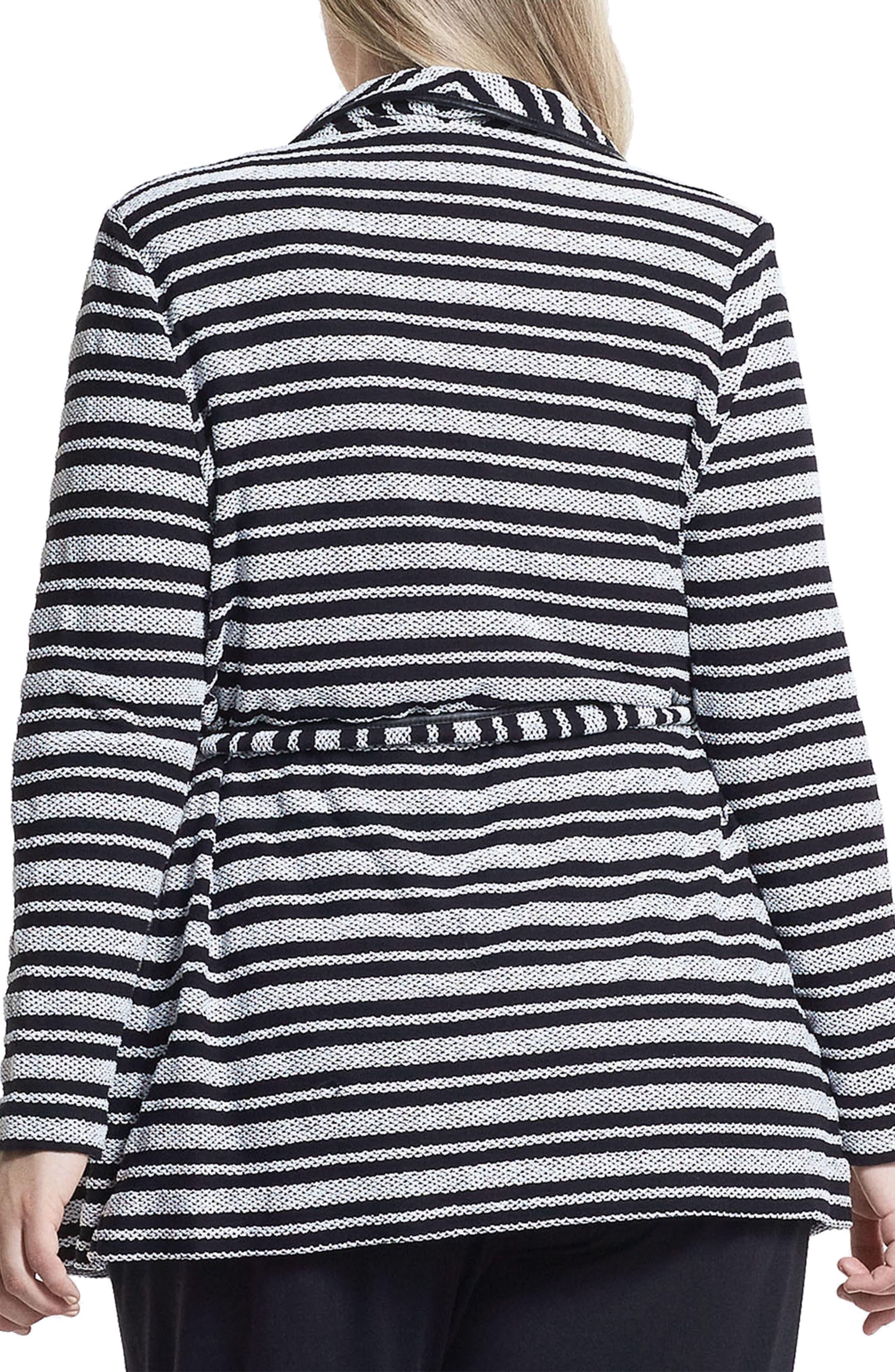 Xena Belted Stripe Knit Jacket,                             Alternate thumbnail 2, color,                             Black/ White Stripe
