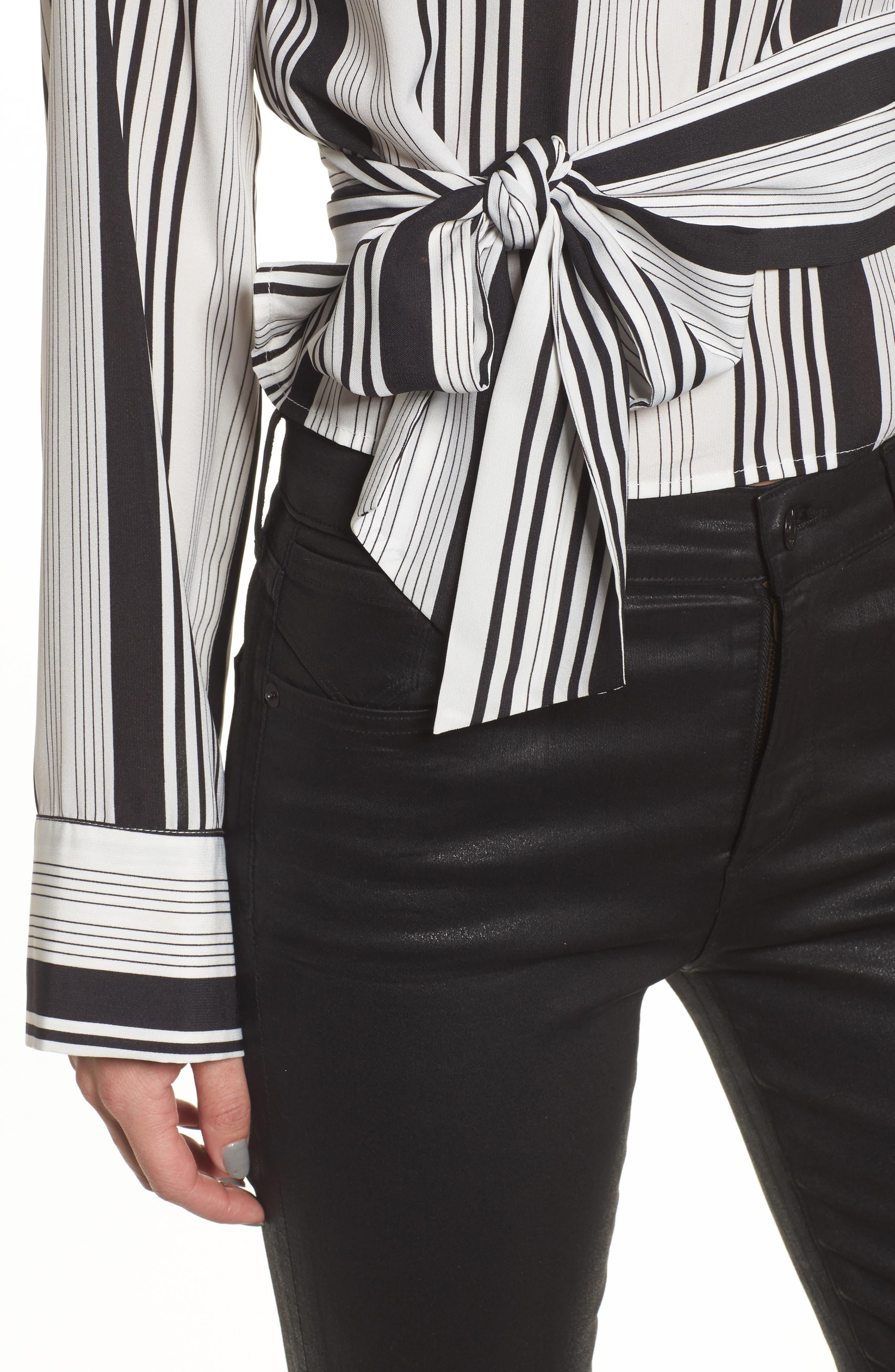 One-Shoulder Tie Waist Shirt,                             Alternate thumbnail 4, color,                             Black/ White Stripe