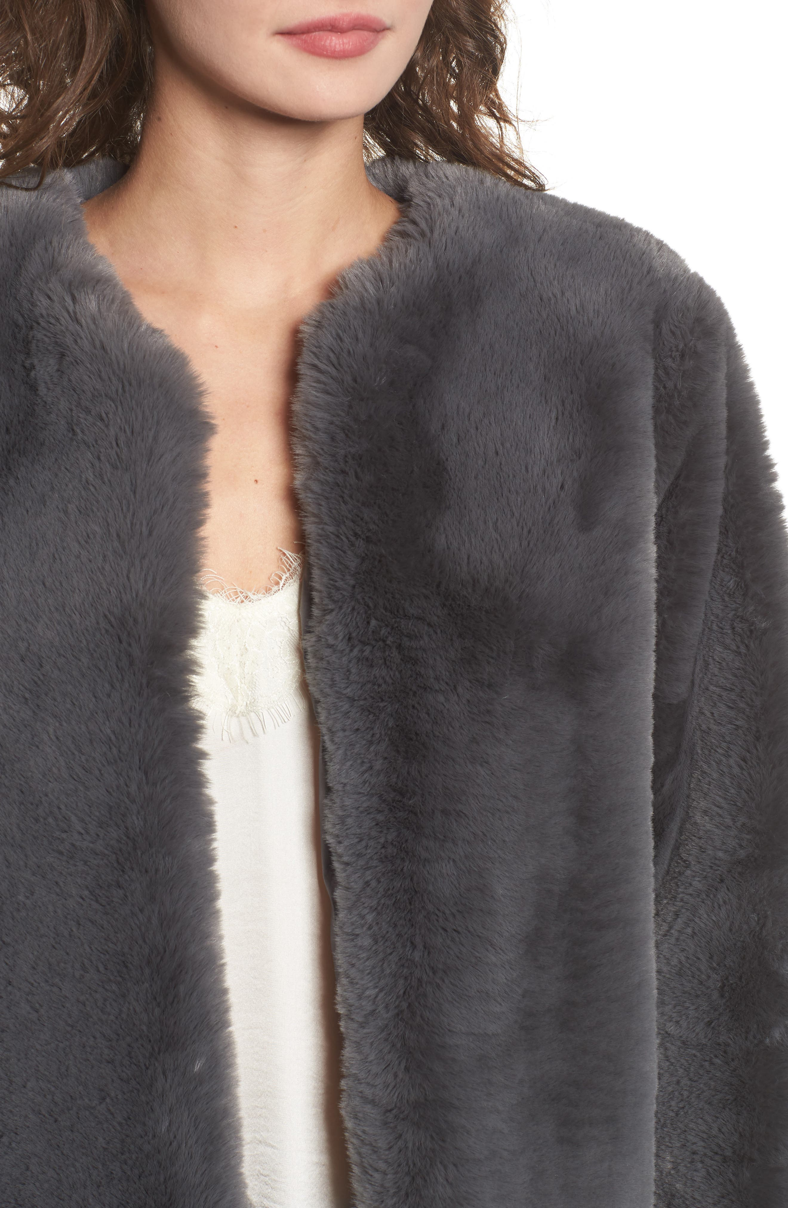 Faux Fur Jacket,                             Alternate thumbnail 4, color,                             Smoke