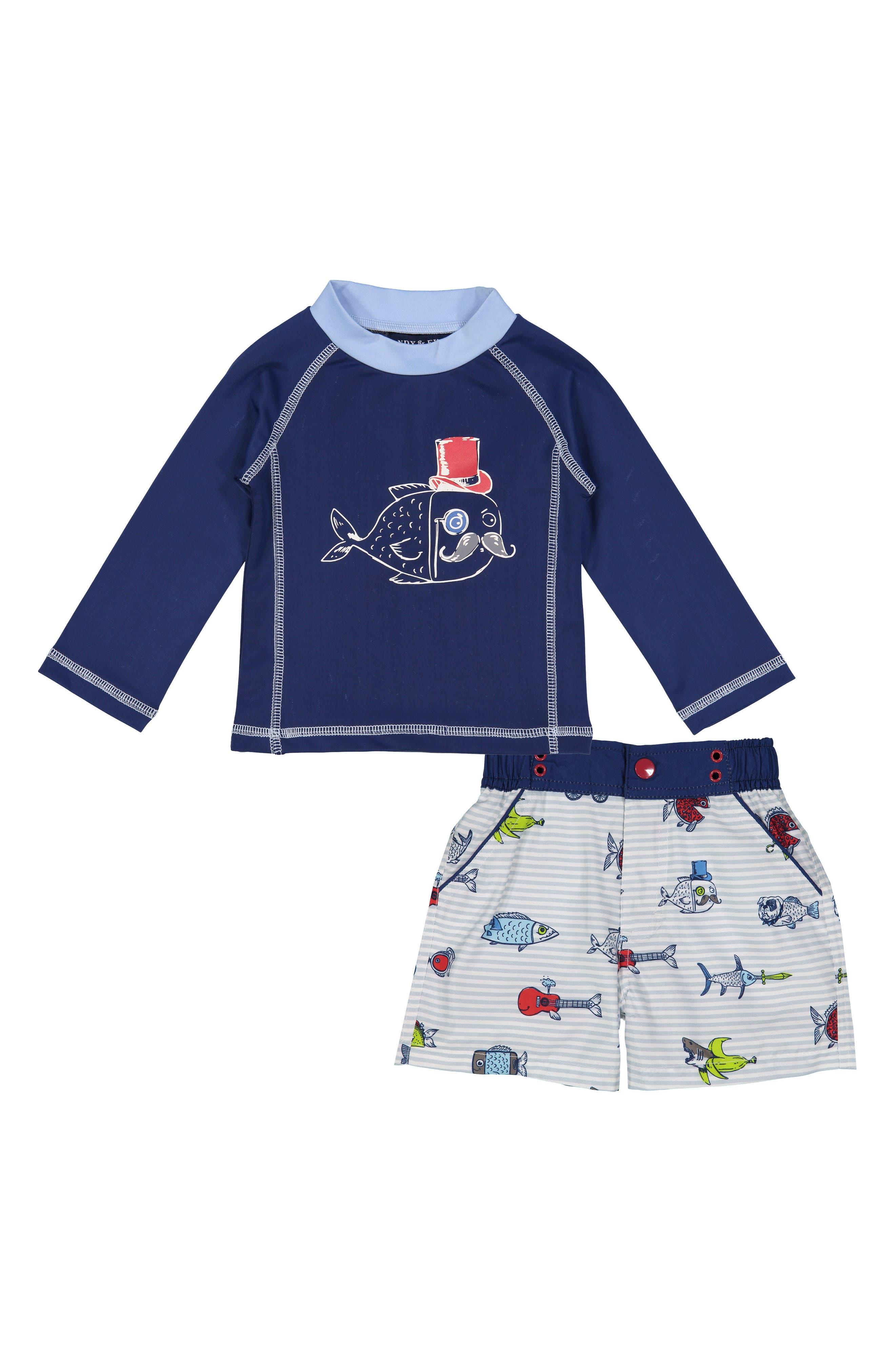 Main Image - Andy & Evan Fish Two-Piece Rashguard Swimsuit (Baby Boys)