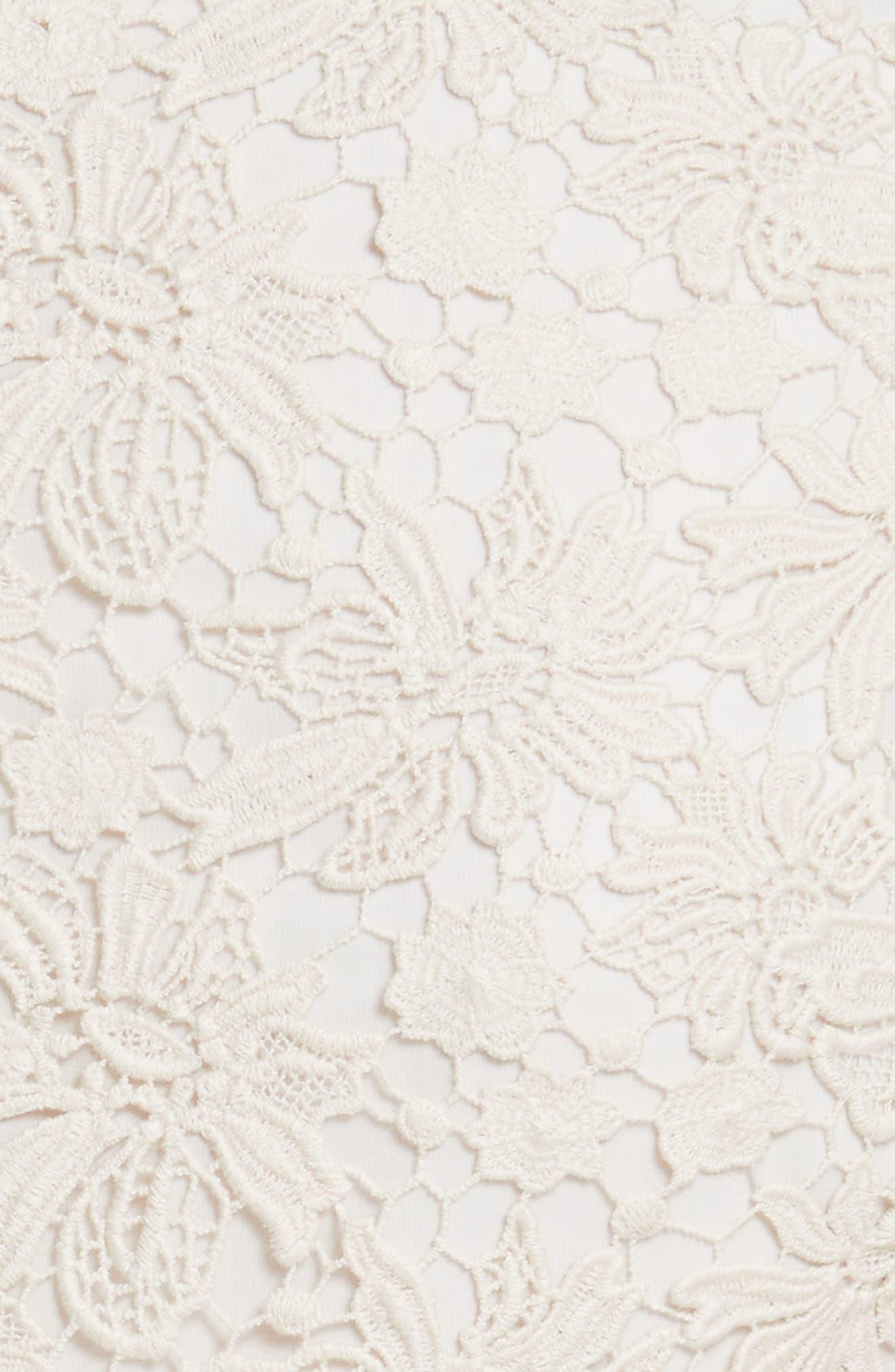 Onella V-Neck Lace Dress,                             Alternate thumbnail 5, color,                             Natural